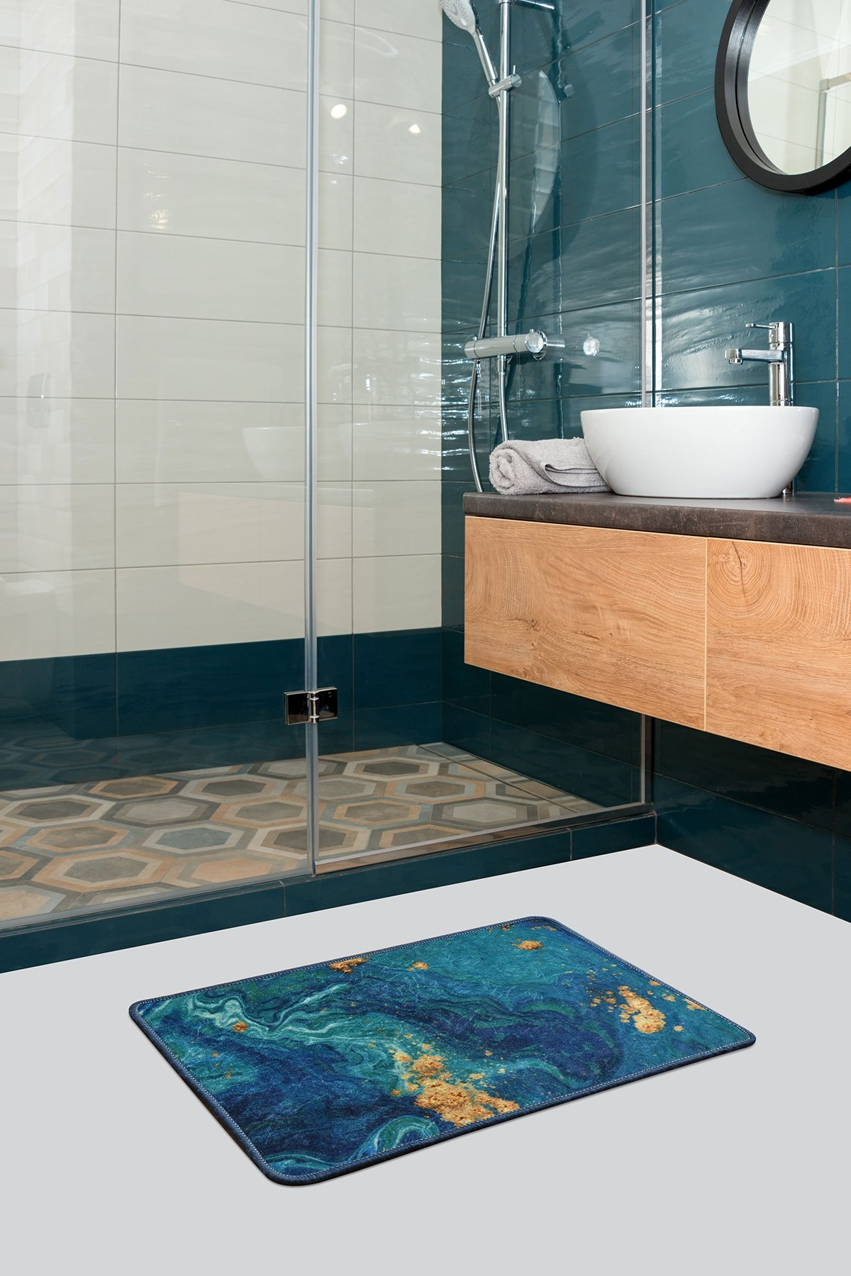 Covoras pentru baie Marble Multicolor, 40 x 60 cm poza