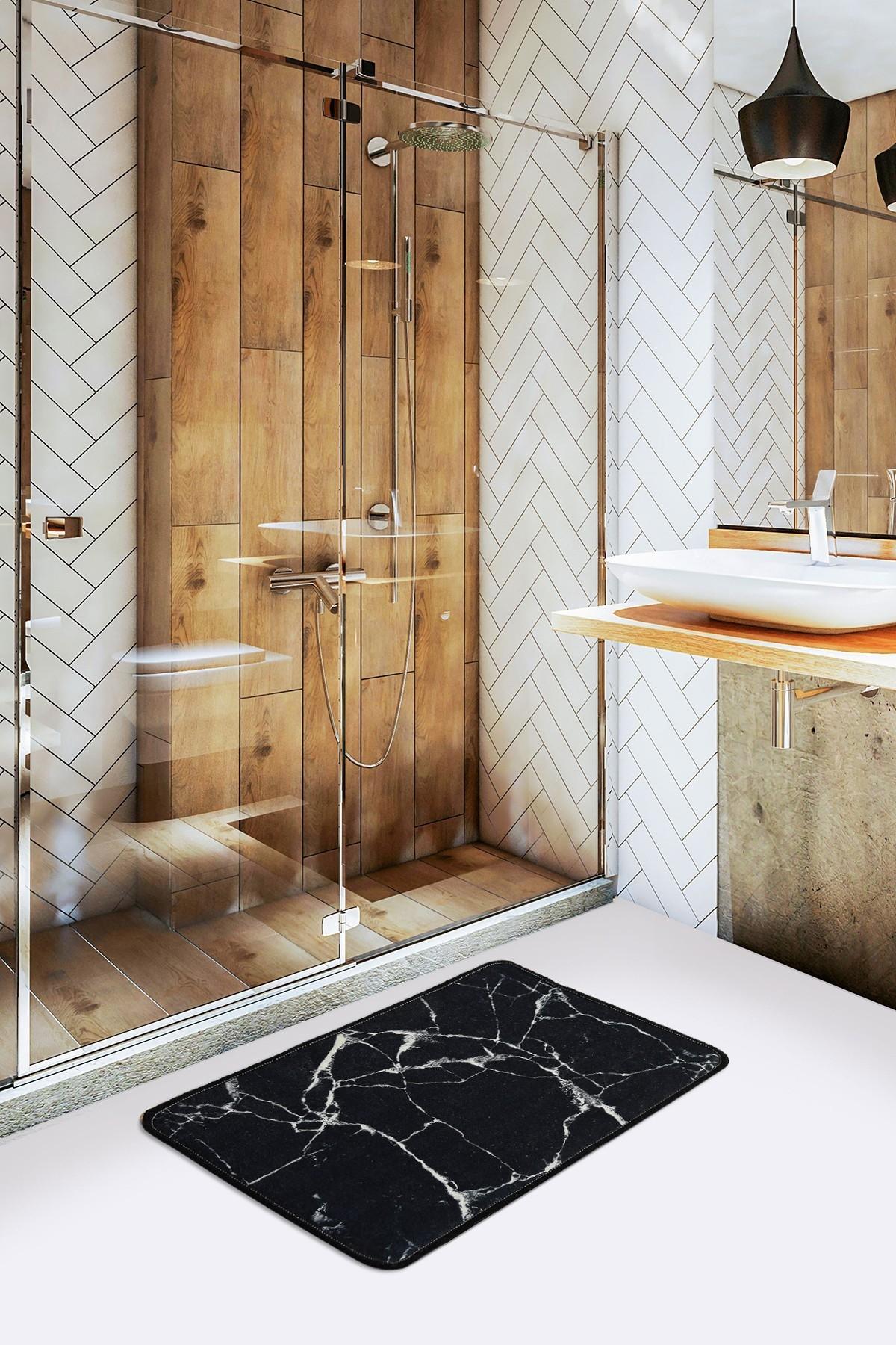 Covoras pentru baie Marble Negru, 40 x 60 cm poza