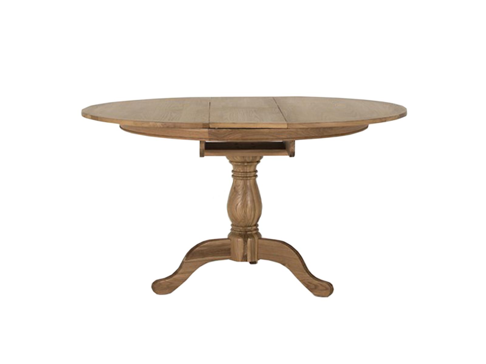 Masa extensibila din lemn de stejar Carmen Round, L112-142xl112 x h77 cm