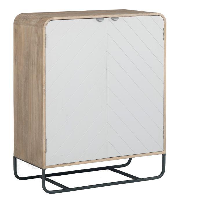 Cabinet din lemn cu 2 usi Chevron White l85xA40xH104 cm