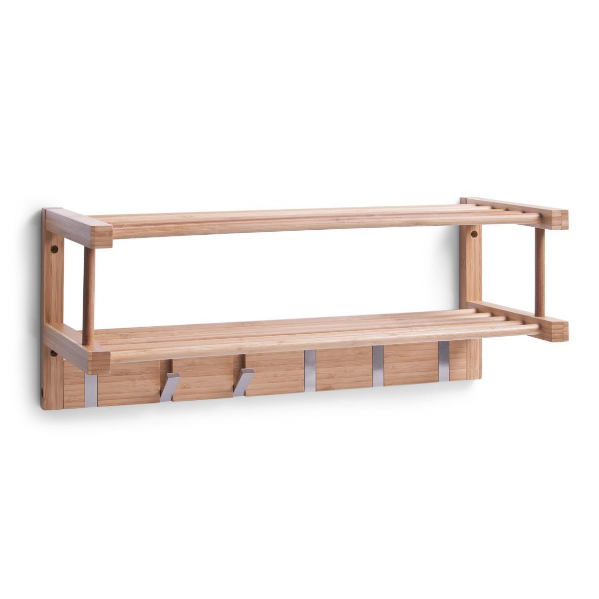 Cuier cu 2 etajere, Bamboo Natural, l60xA24xH24 cm