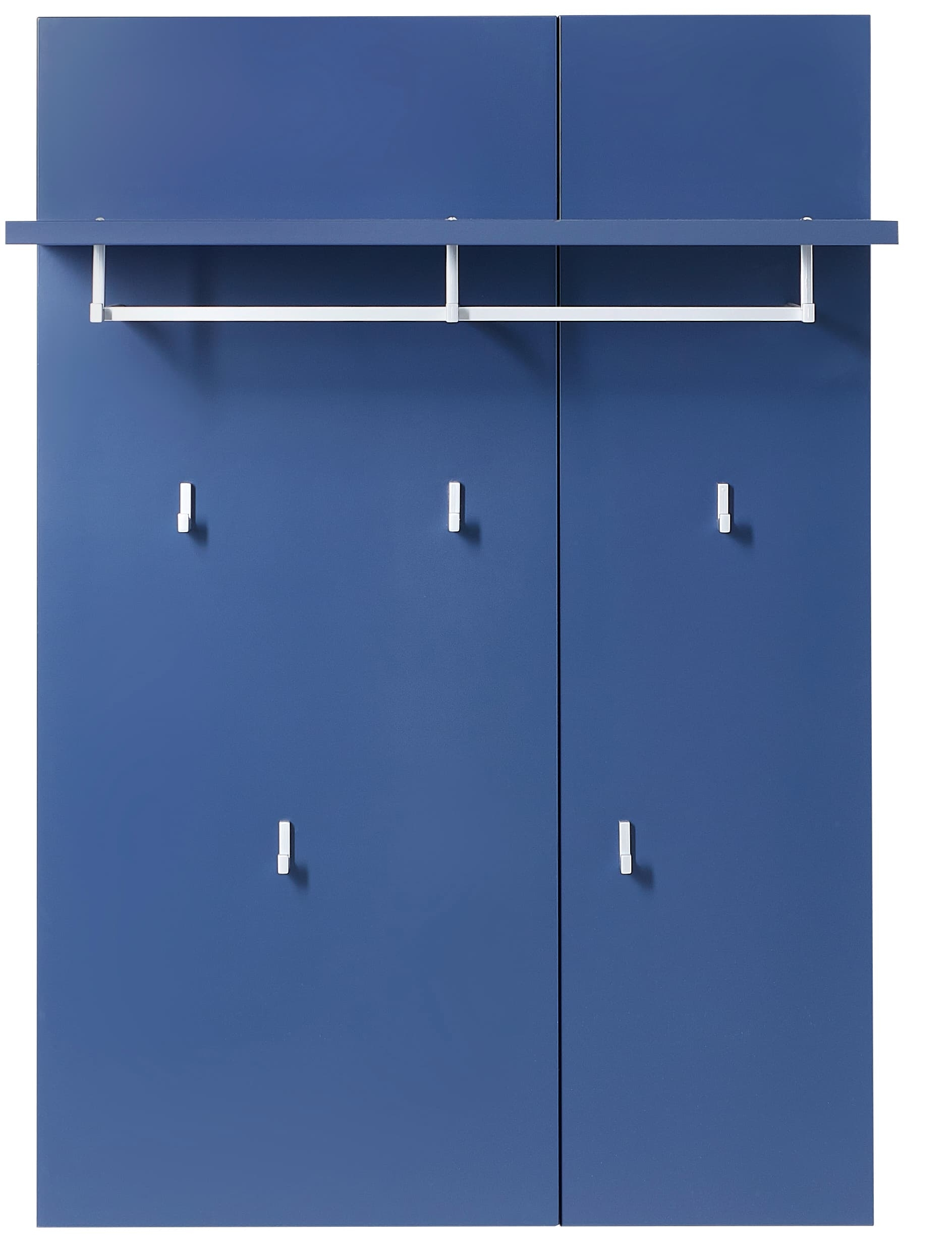 Cuier cu etajera din MDF Kalis Albastru, l80xA30xH116 cm somproduct.ro