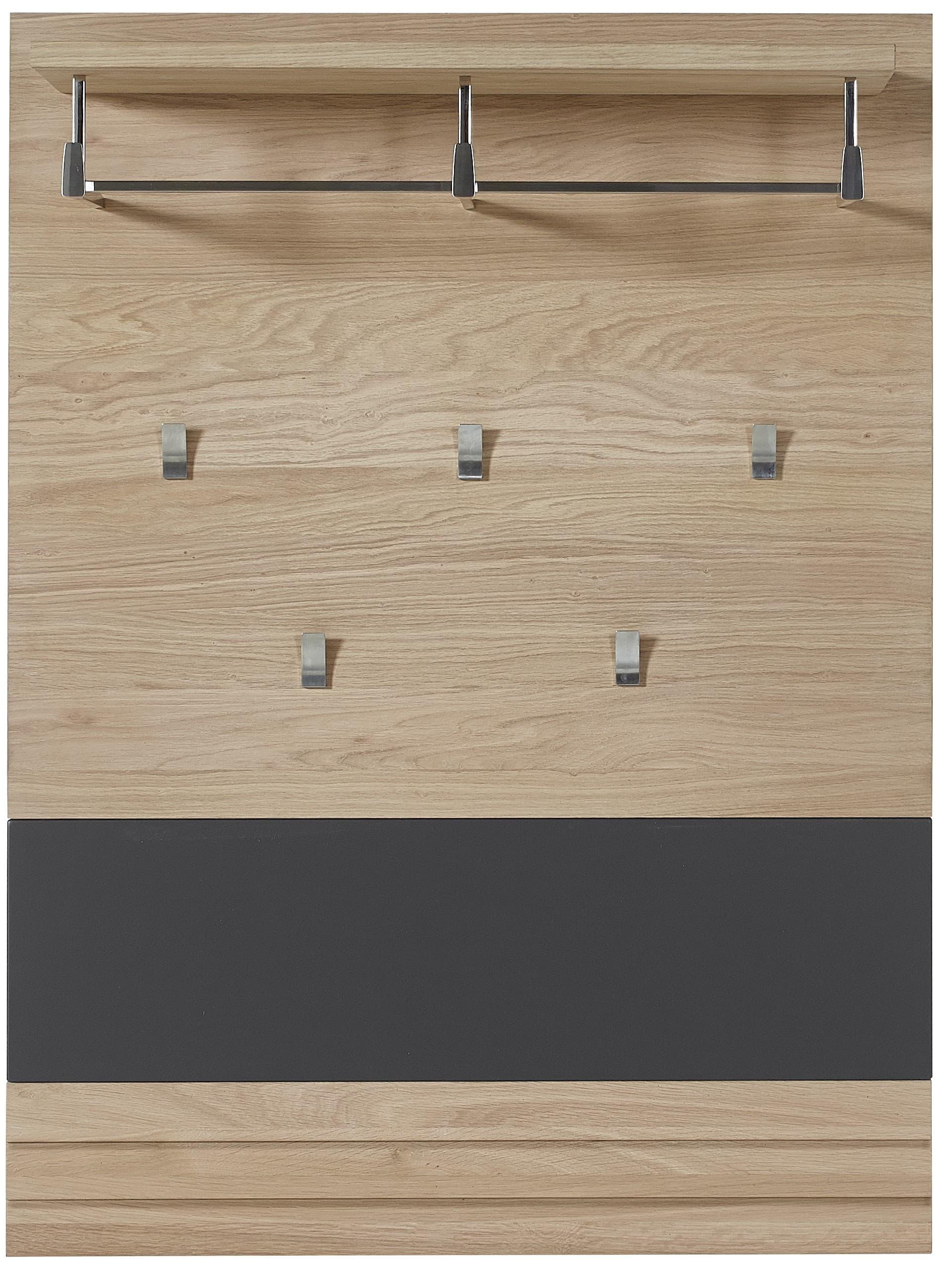Cuier cu sina si etajera din pal si MDF, Archi Natur / Grafit, l85xA28xH116 cm somproduct.ro