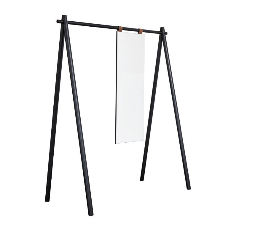 Cuier din lemn de pin cu oglinda Hongi Black l150xA74xH177 cm