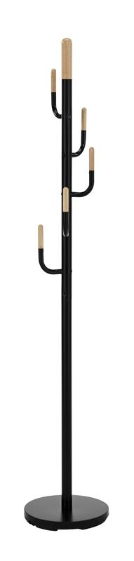 Cuier din metal si lemn W62 Negru / Natural, Ø30xH174 cm