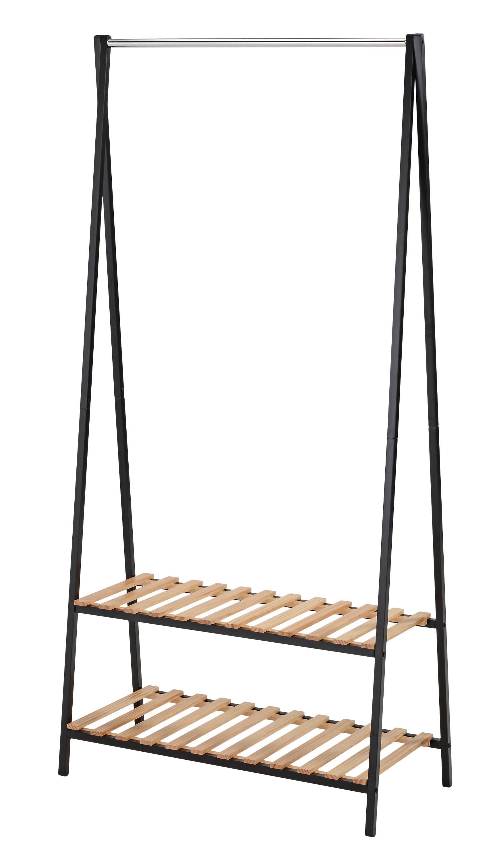 Cuier din metal si lemn WU-27 Negru / Natural, l90xA42xH180 cm imagine