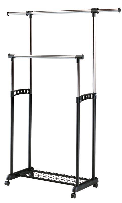 Cuier din metal si plastic WU-11 Negru / Crom, l90-142xA44xH97-170 cm somproduct.ro