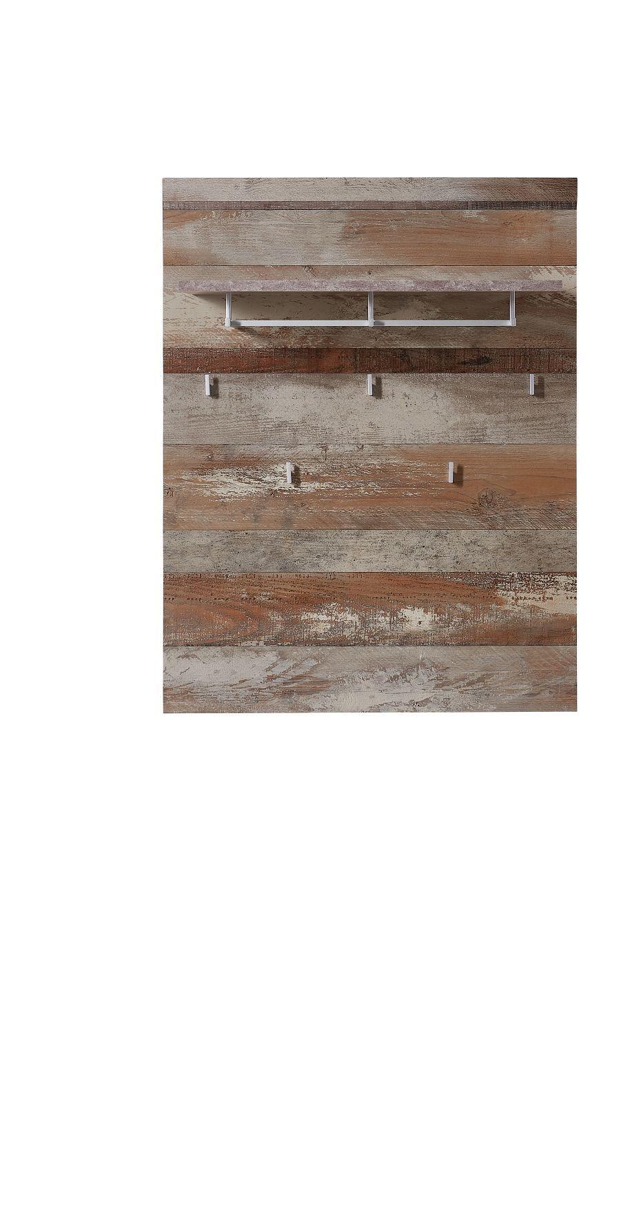 Cuier din pal si MDF cu etajera Krone Driftwood, l90xA30xH116 cm imagine