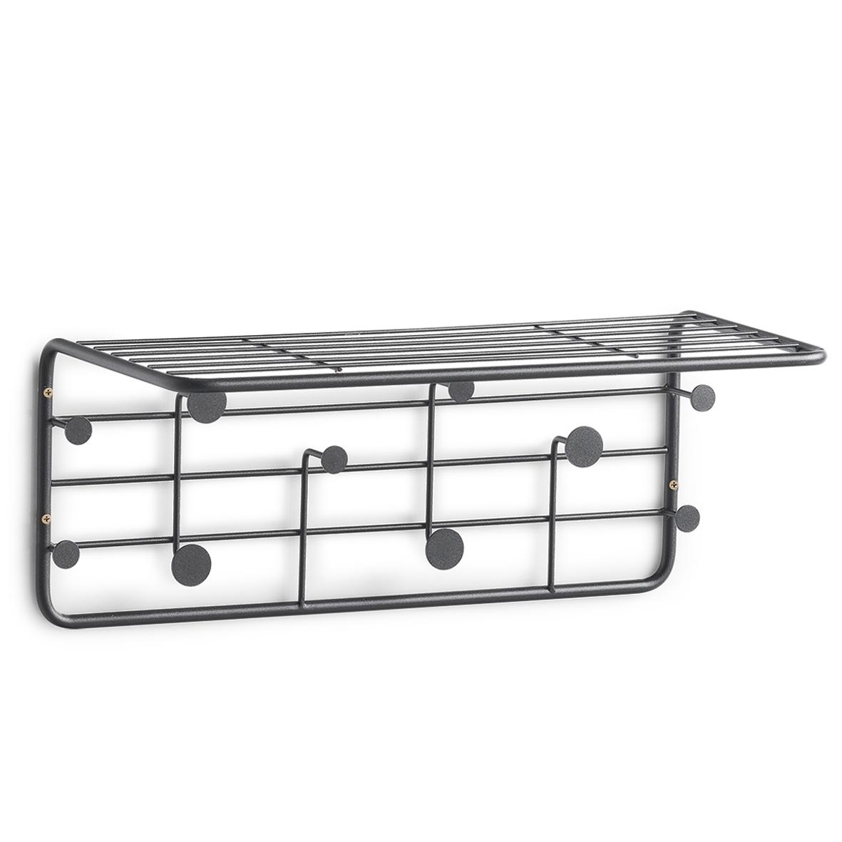 Cuier metalic cu etajera, Rack Negru, l51,4xA24xH21 cm somproduct.ro