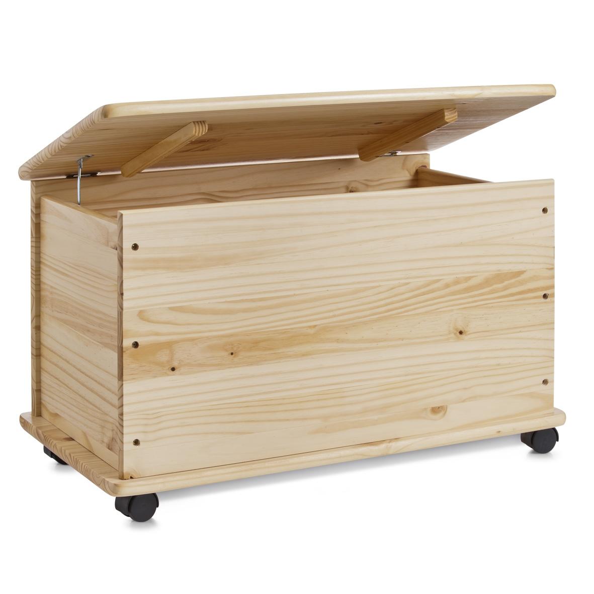 Cutie depozitare jucarii, din lemn de pin, Pine Natural, l73xA39,5xH45 cm poza