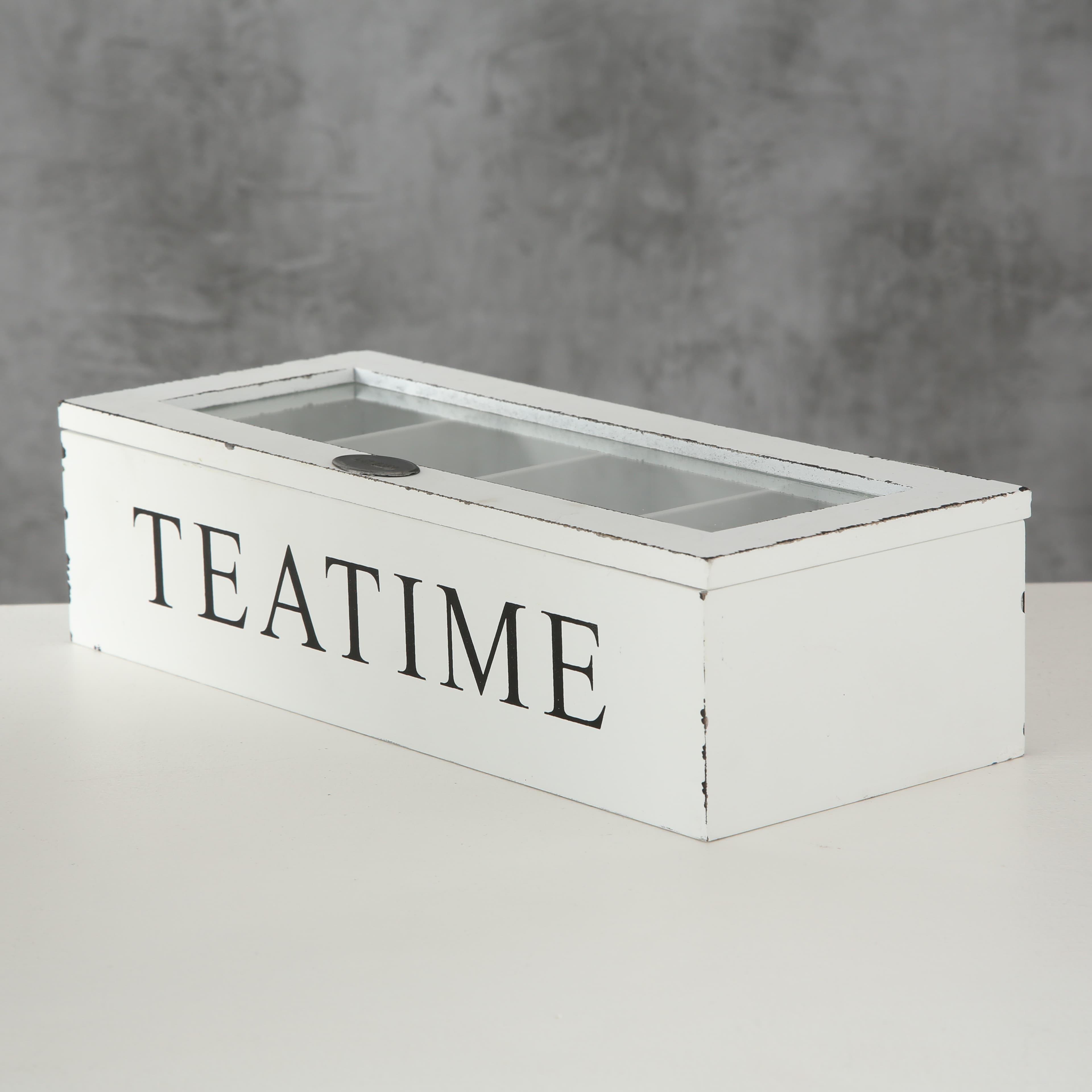 Cutie depozitare pliculete ceai, din MDF Ford Alb / Negru, L27xl11xH7 cm