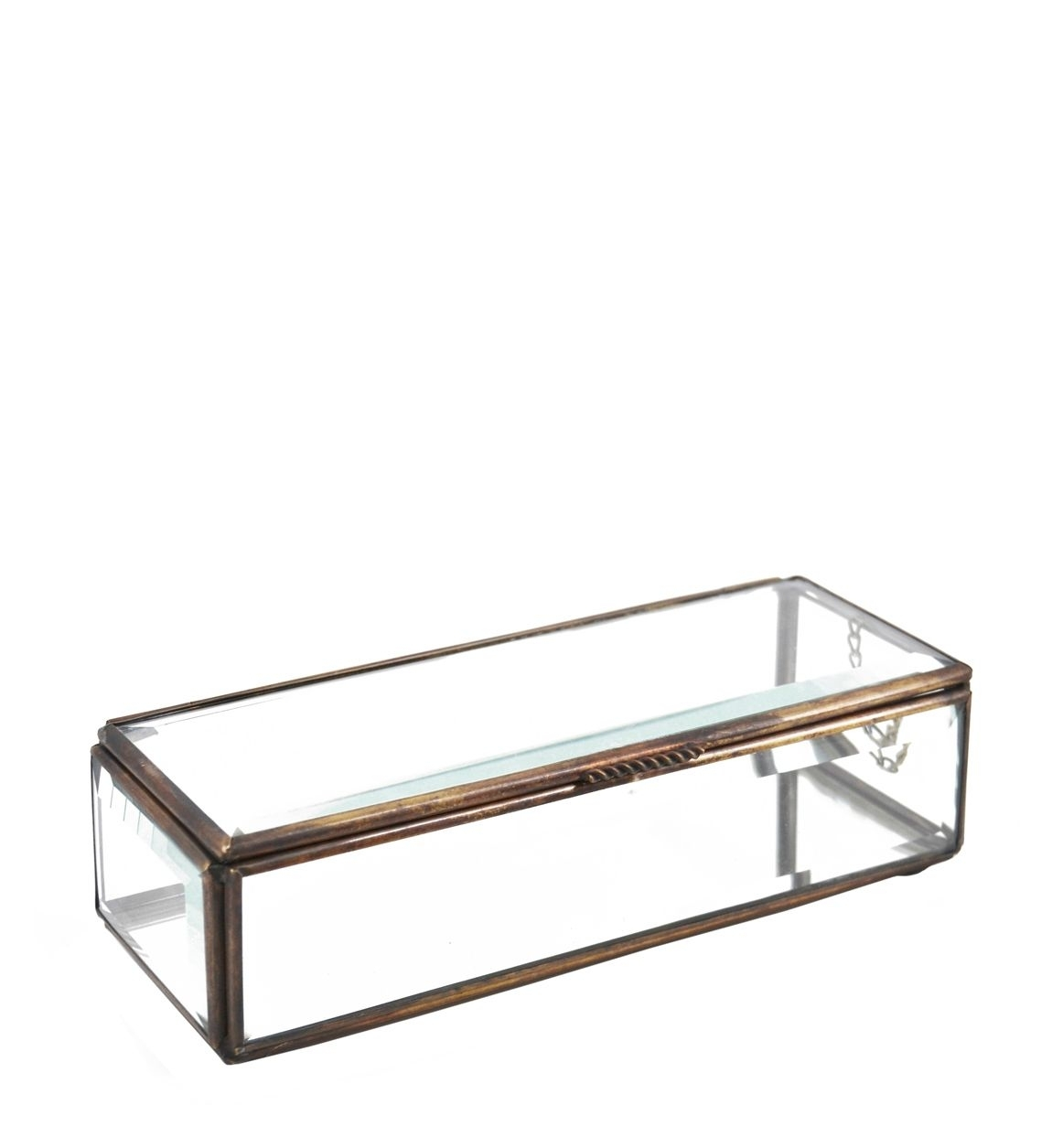 Decoratiune din sticla si metal Box Aramiu, L20xl7xH5 cm