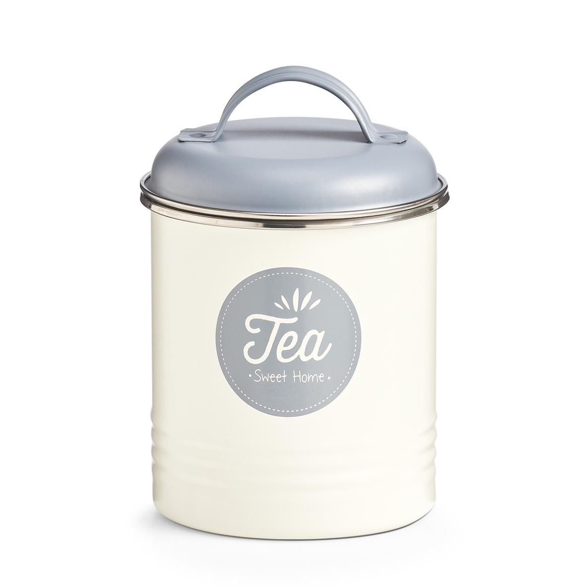 Cutie metalica cu capac pentru ceai, Sweet Home Crem / Gri, Ø11,3xH16,5 cm imagine