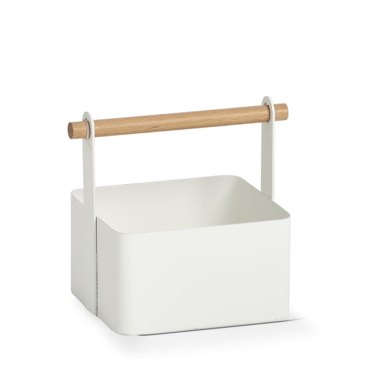 Cutie metalica cu maner, pentru depozitare, Caddy Alb, L14,3xl13xH16 cm
