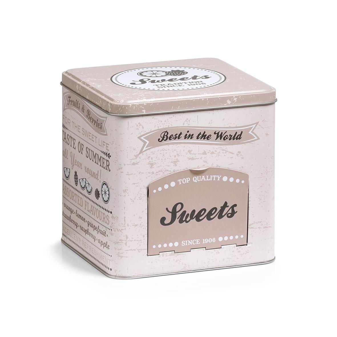 Cutie metalica pentru bomboane Sweets, cu capac, Multicolor, l15xA15xH15,2 cm imagine