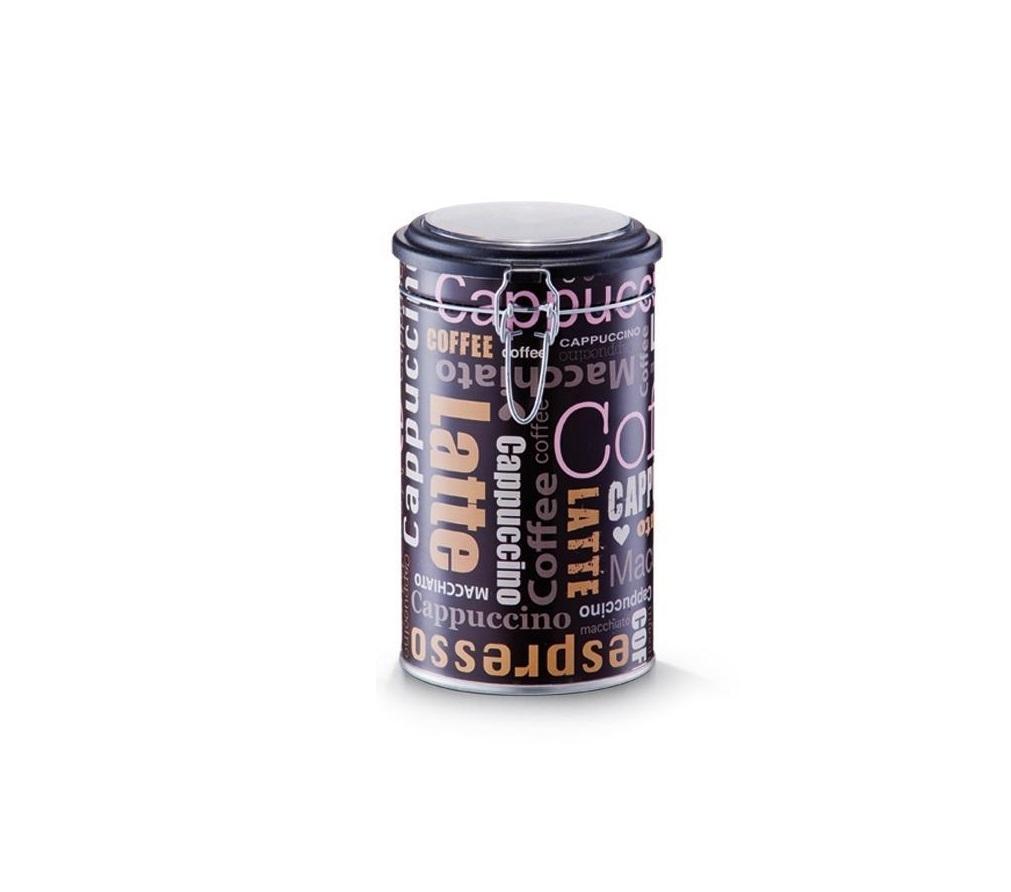 Cutie metalica pentru cafea, cu capac Cappuccino Latte Maro inchis / Multicolor, Ø11xH20 cm imagine