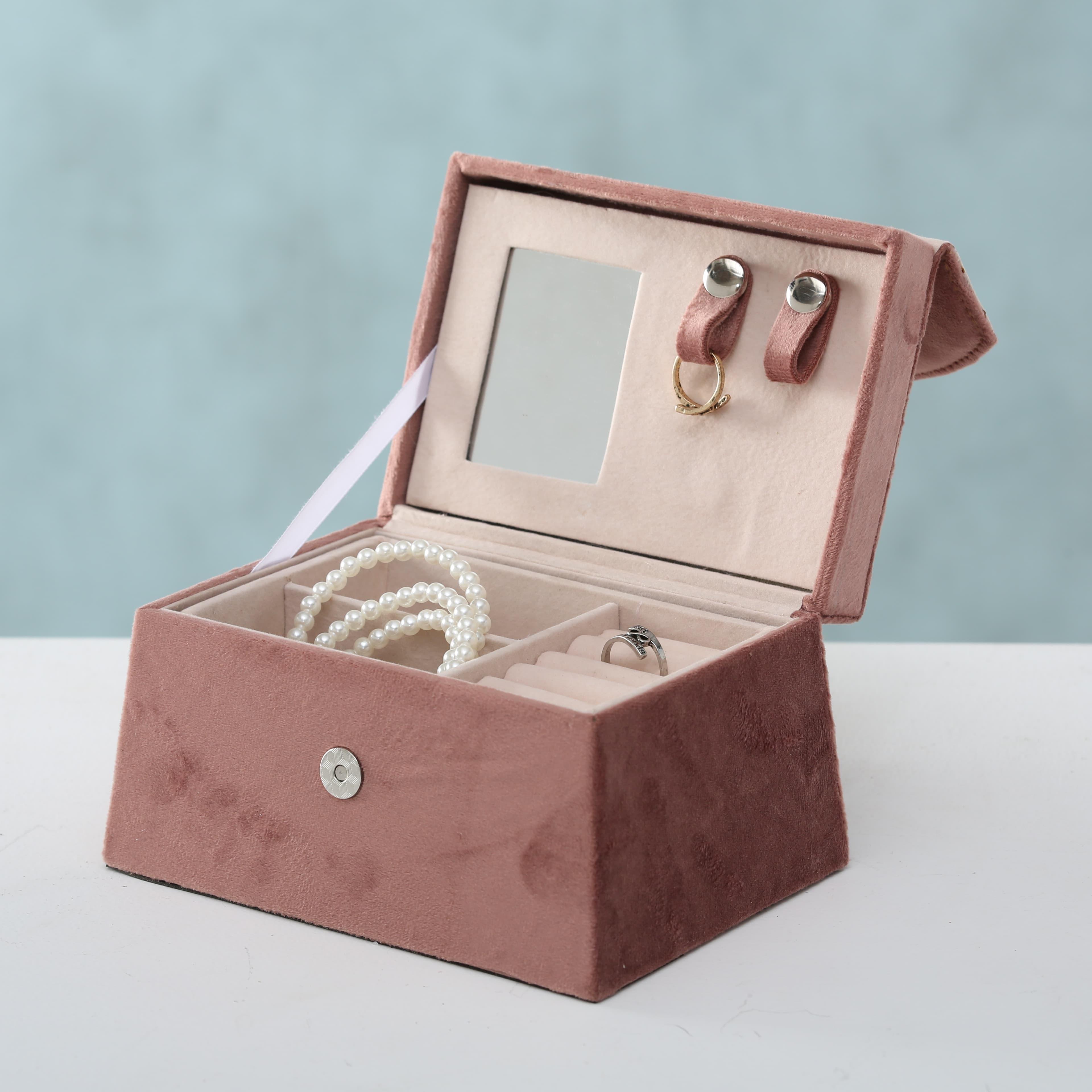 Cutie pentru bijuterii Clea Velvet Roz, L17xl12xH18 cm imagine