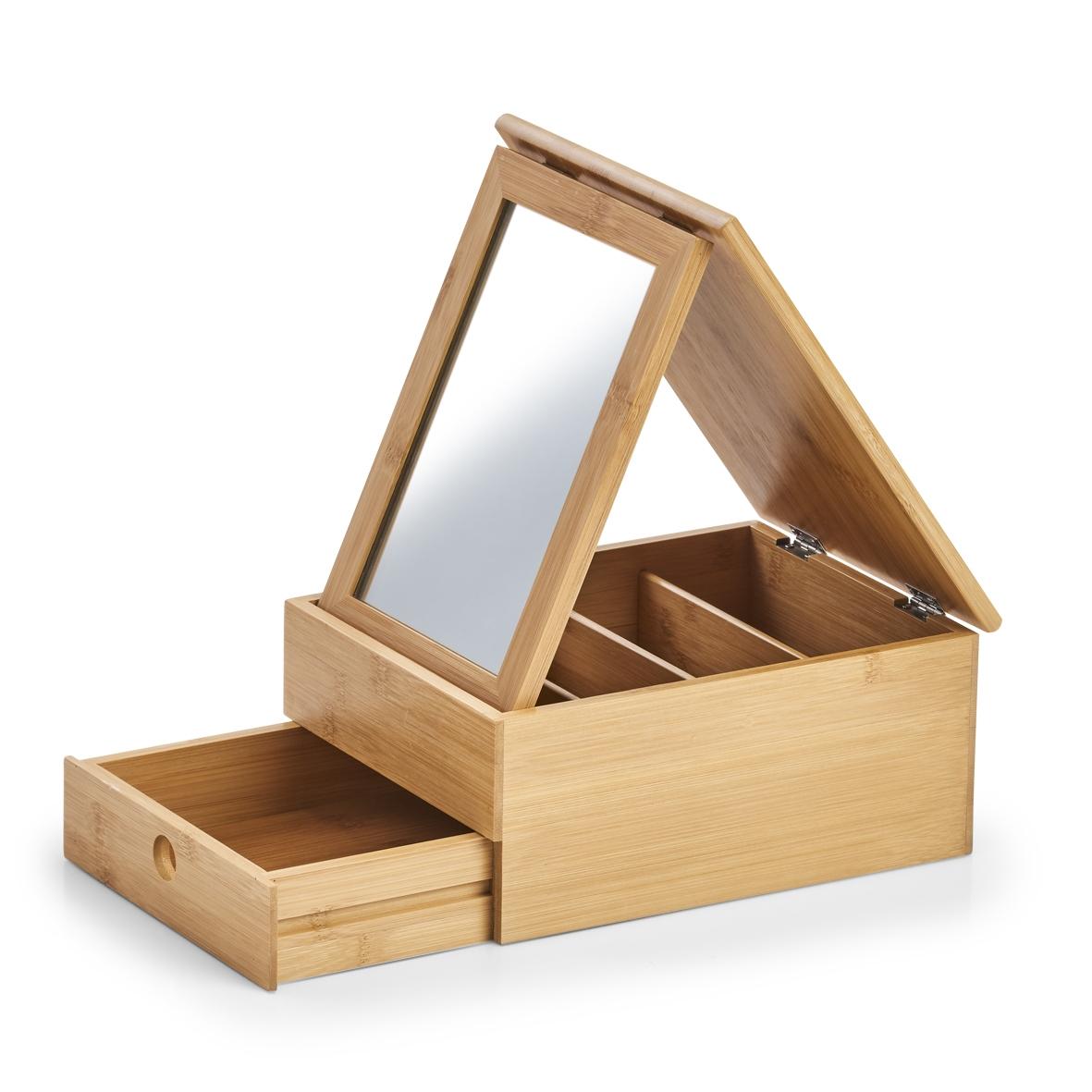 Cutie pentru cosmetice din bambus cu oglinda, Bamboo Natural, l25xA19xH11,2 cm imagine
