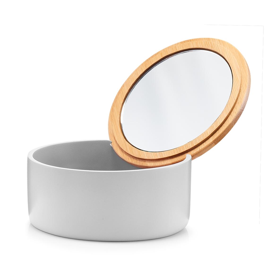 Cutie pentru cosmetice din polirasina, cu oglinda, Pastel Grey, Ø 13,3xH6,5 cm imagine