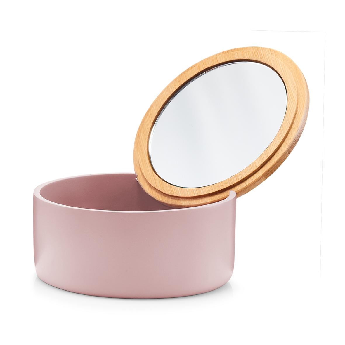 Cutie pentru cosmetice din polirasina, cu oglinda, Pastel Rose, Ø 13,3xH6,5 cm imagine