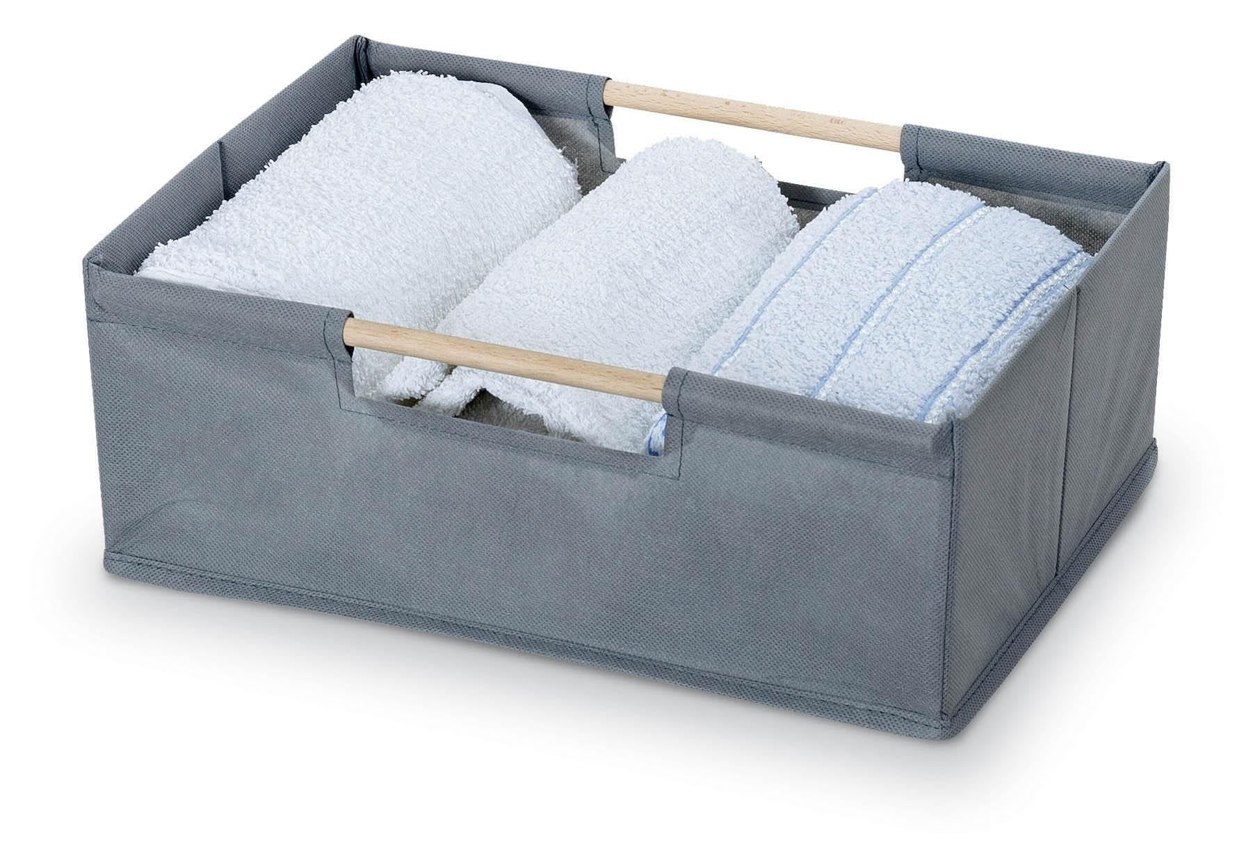 Cutie pentru depozitare din carton si lemn, Cesto Gri / Maro, Modele Asortate, L34xl24xH13 cm imagine