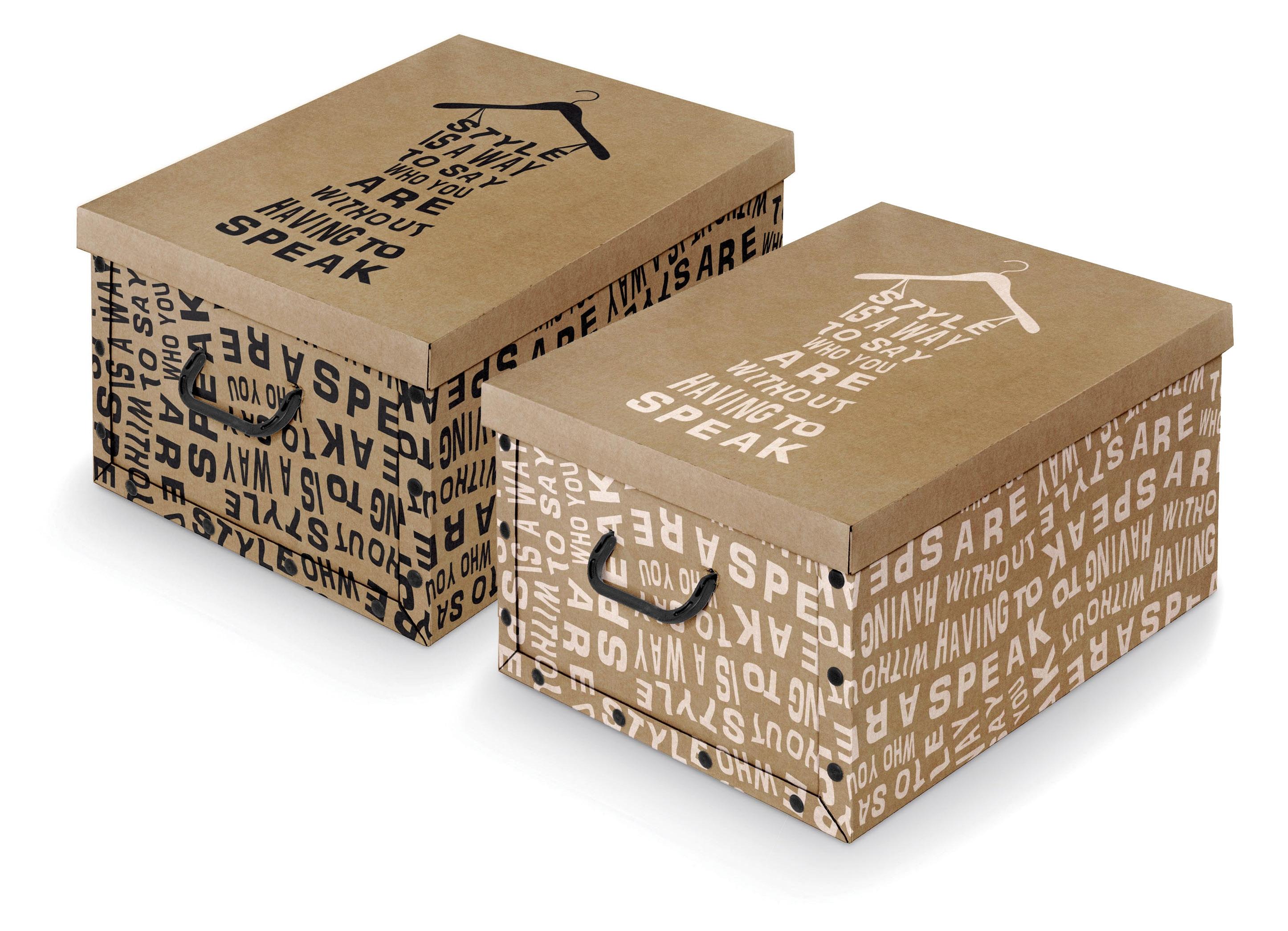 Cutie pentru depozitare din carton, Text Alb / Negru, Modele Asortate, L50xl39xH24 cm imagine