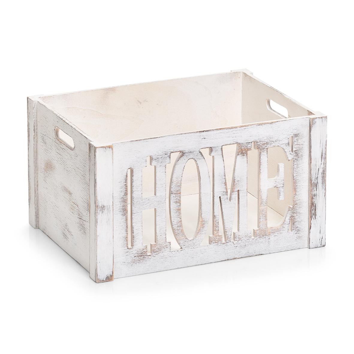 Cutie pentru depozitare din lemn de paulownia, Home Large Alb, L40xl30xH22 cm