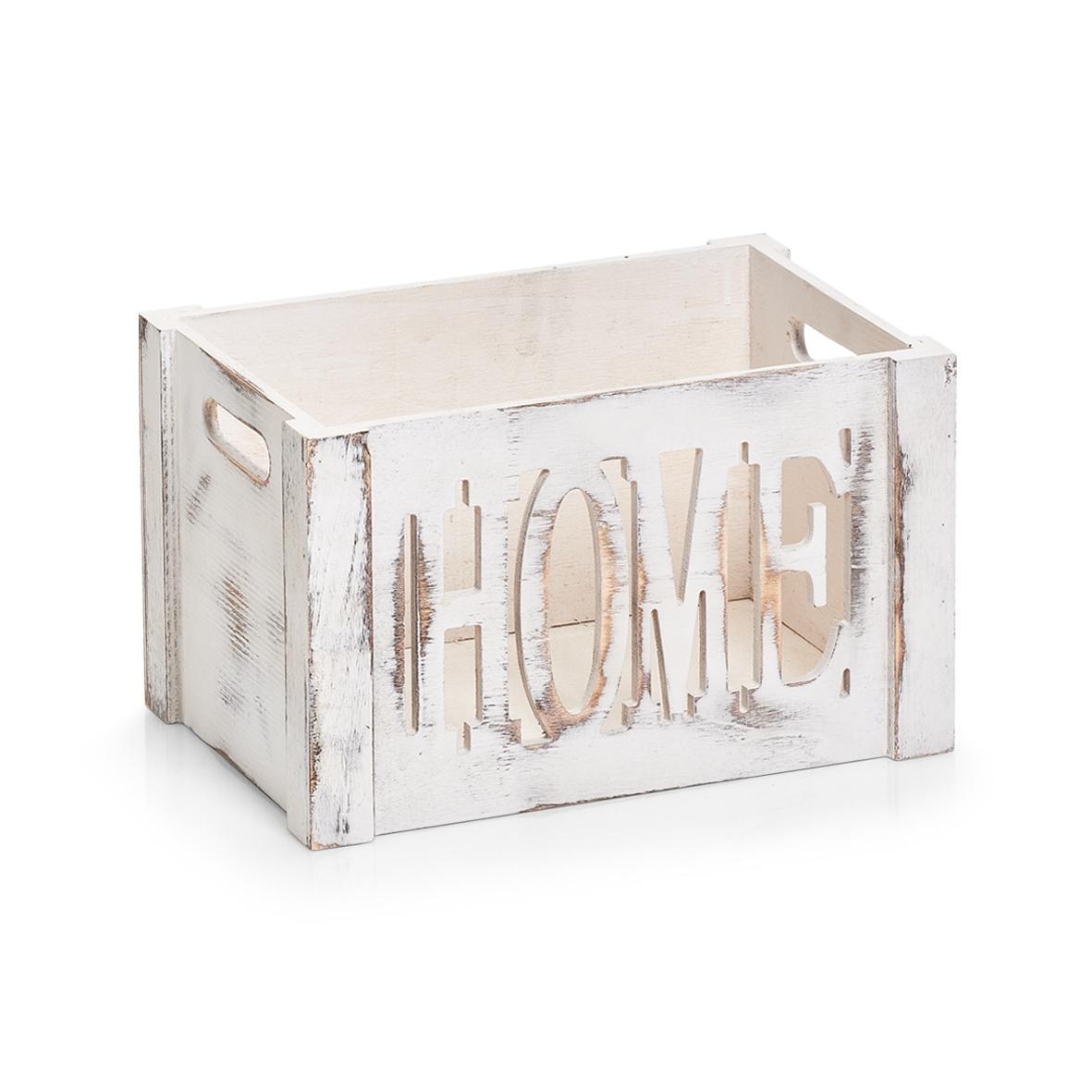 Cutie pentru depozitare din lemn de paulownia, Home Small Alb, L30xl20xH18 cm