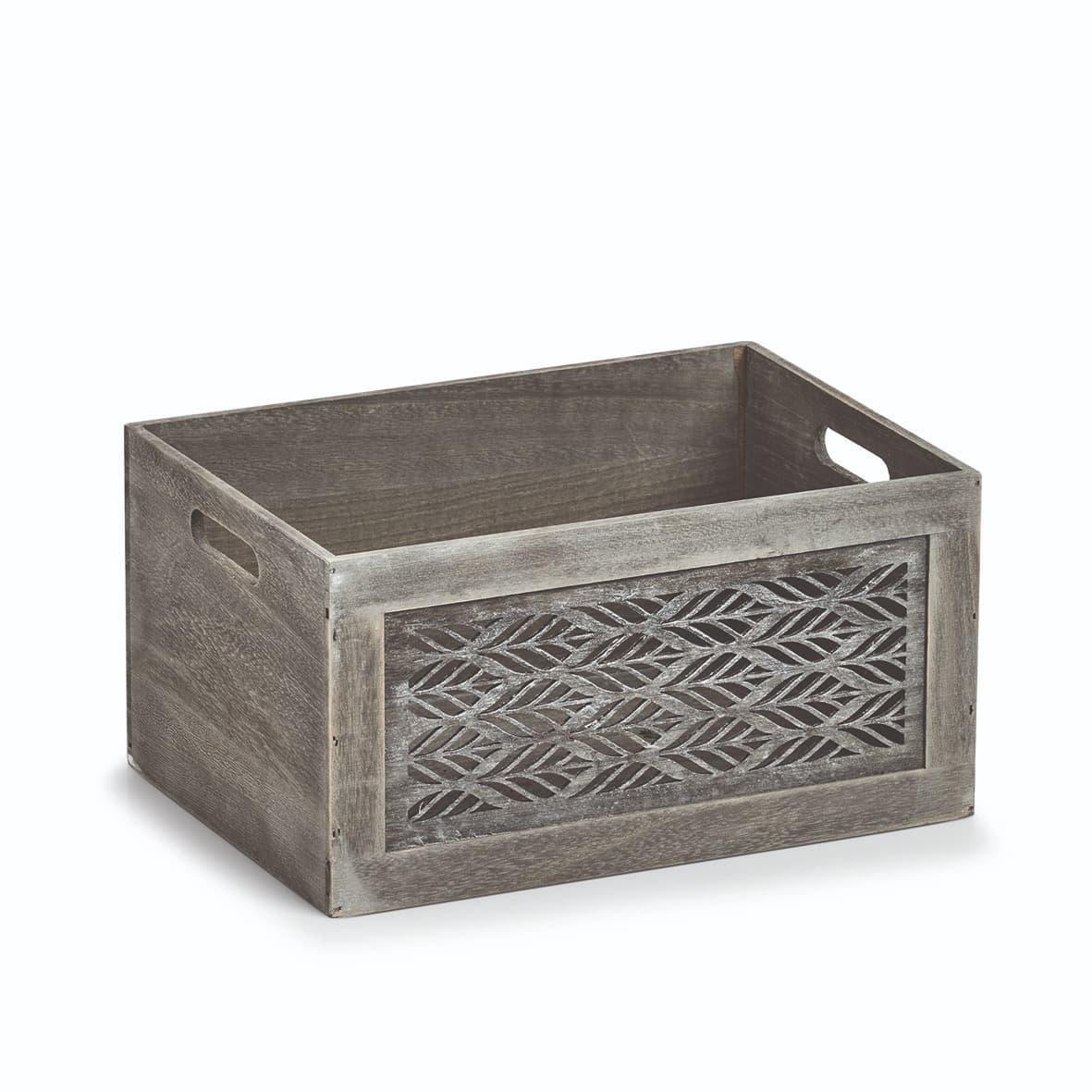 Cutie pentru depozitare din lemn, Leaves Large Gri, L35xl25xH18 cm