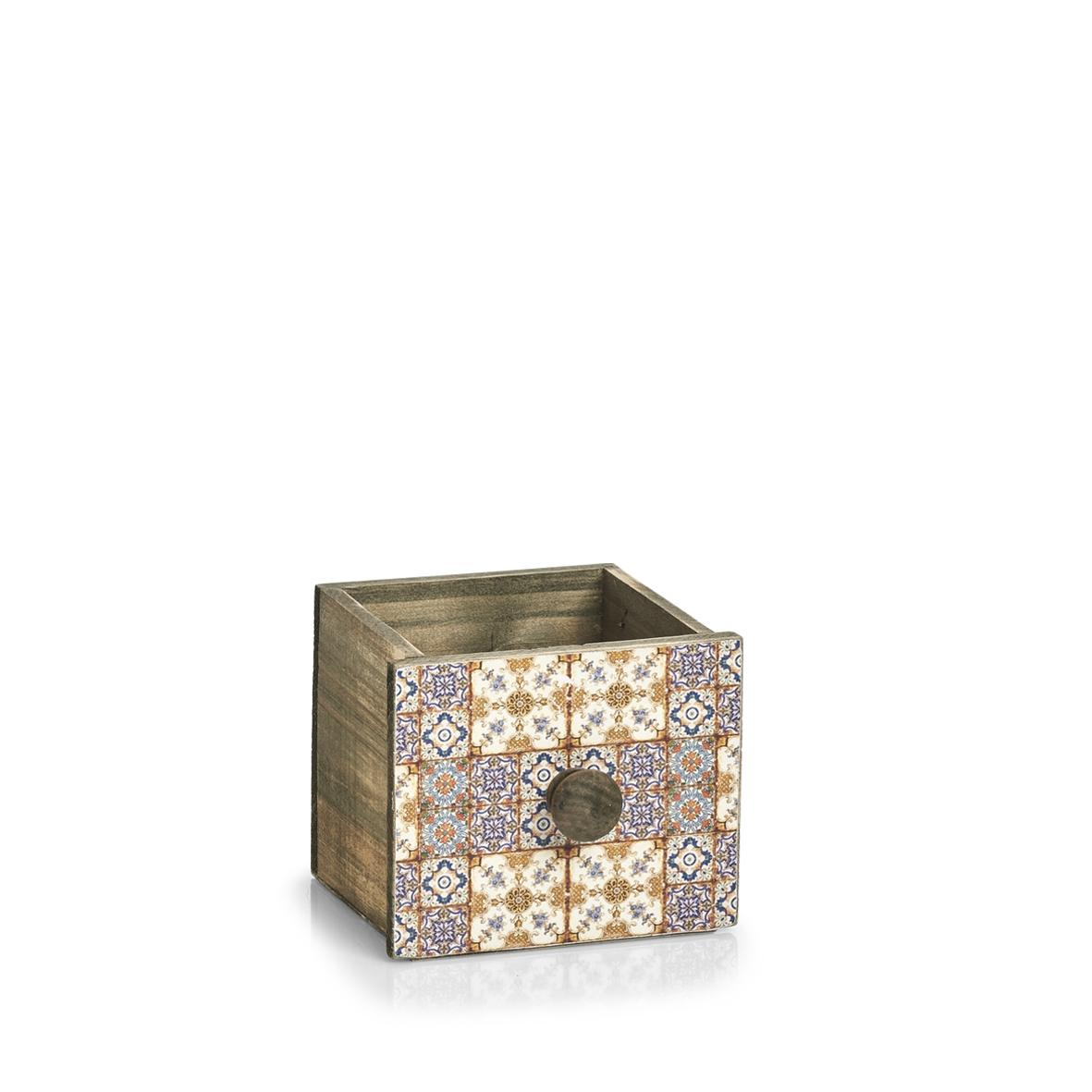 Cutie pentru depozitare din lemn Mosaic Mini Multicolor, L12xl13,5xH11,5 cm