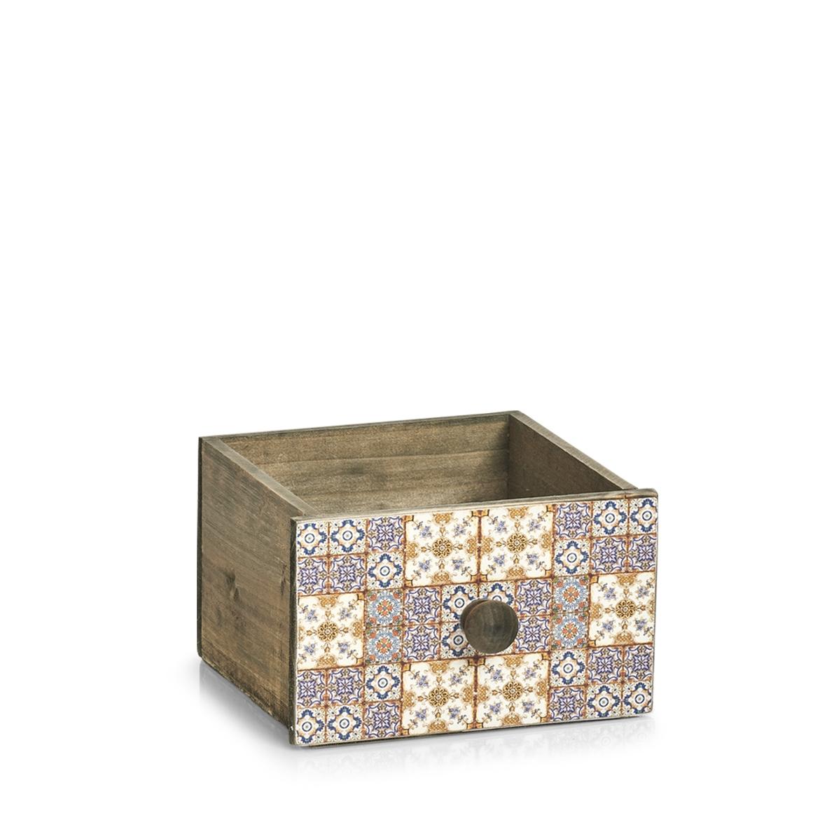 Cutie pentru depozitare din lemn Mosaic Mini Multicolor, L17xl18,5xH11,5 cm imagine