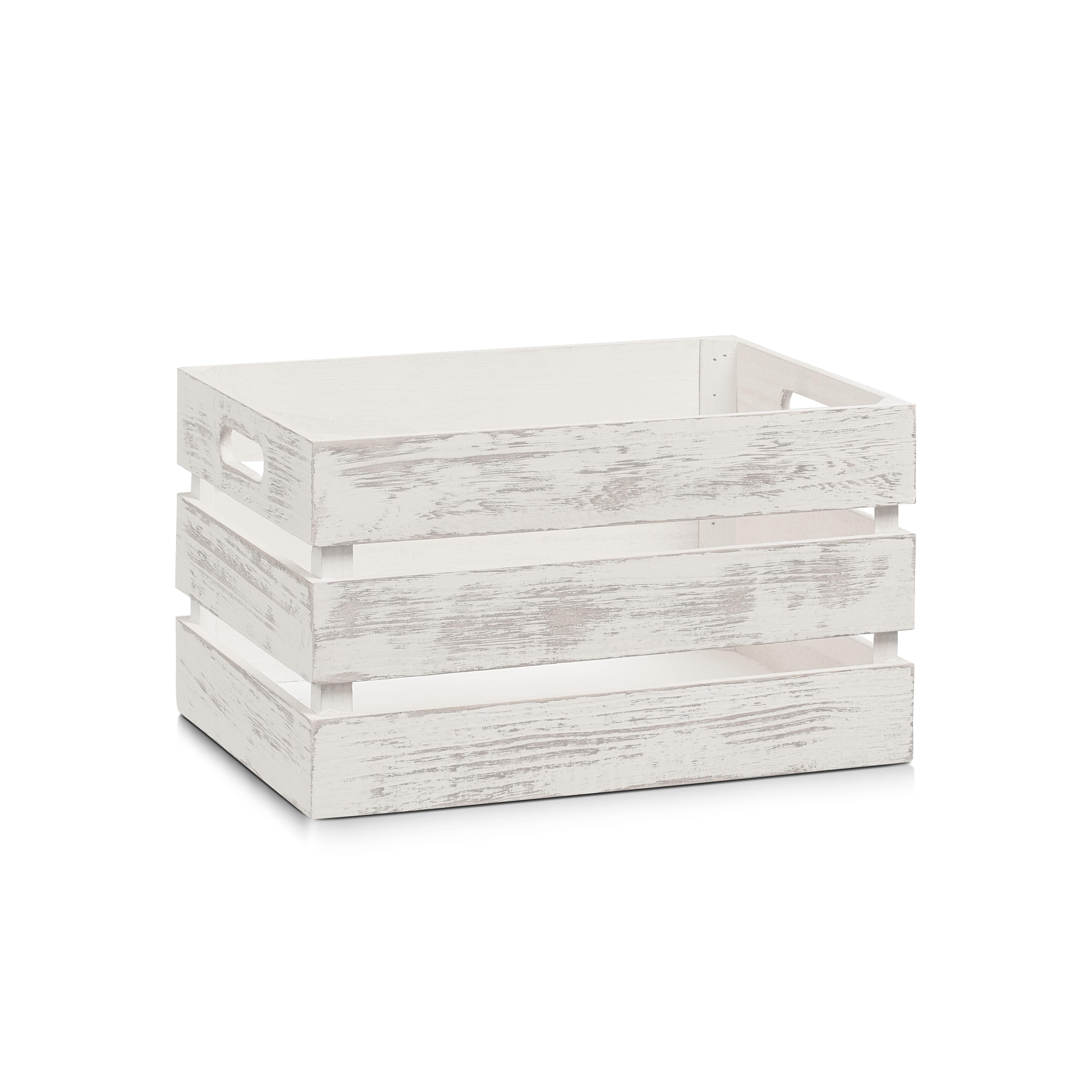Cutie pentru depozitare din lemn, Vintage Medium Alb, L35xl25xH20 cm