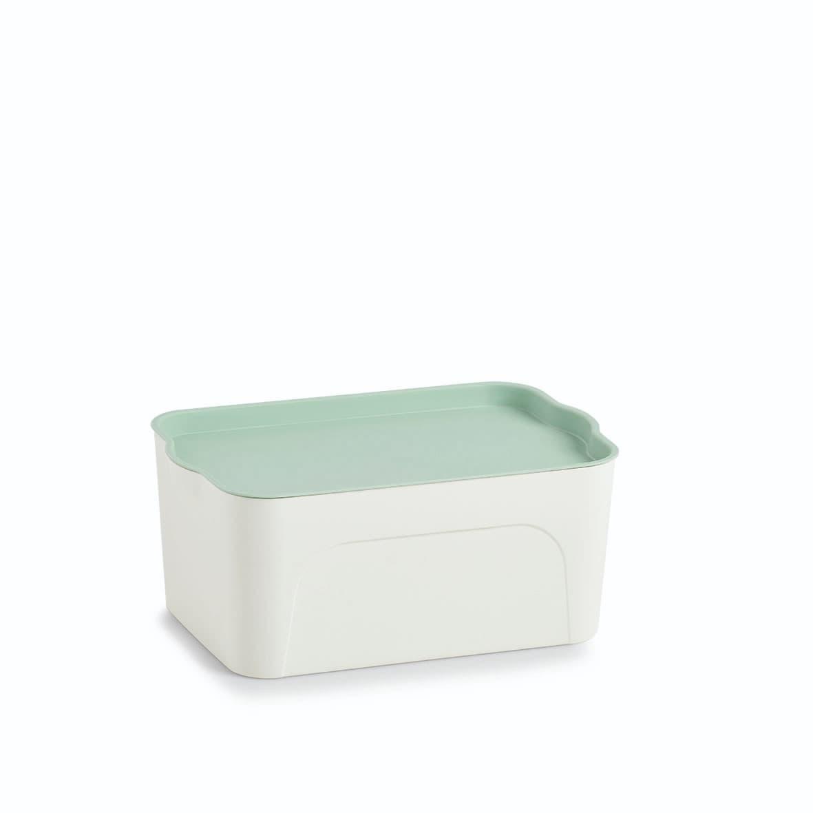 Cutie pentru depozitare din plastic, Lid Alb / Verde Mint, L32xl20,5xH14 cm
