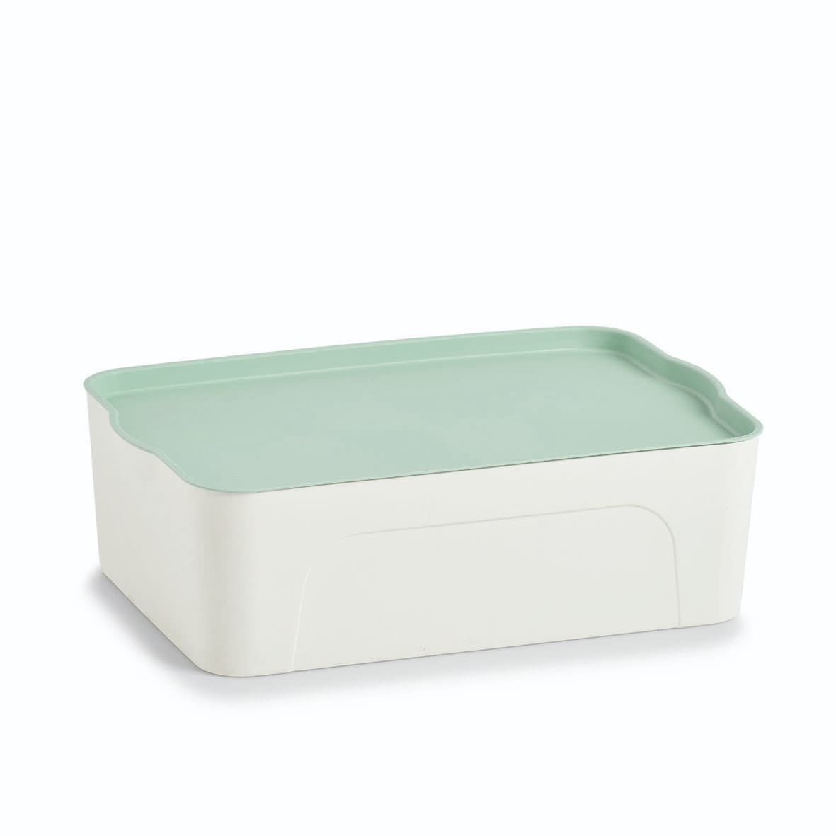 Cutie pentru depozitare din plastic, Lid II Alb / Verde Mint, L44,5xl30xH14 cm