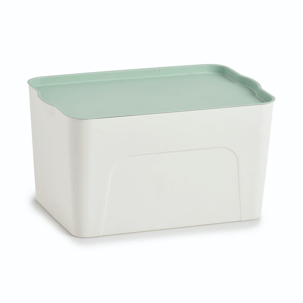 Cutie pentru depozitare din plastic, Lid III Alb / Verde Mint, L44,5xl30xH24,5 cm