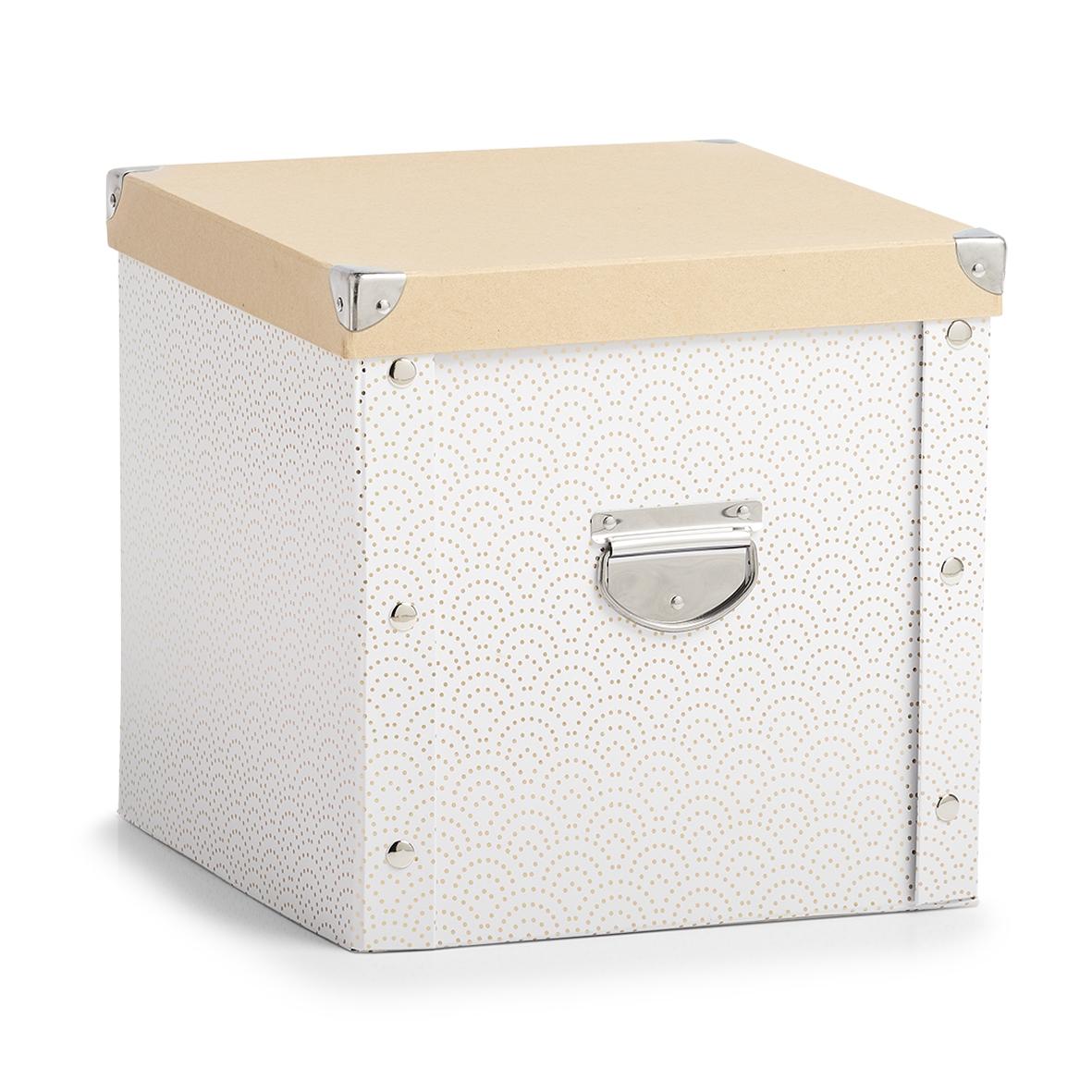 Cutie pentru depozitare globuri, din carton, Christmas Box Alb / Auriu, L30xl30xH29 cm imagine