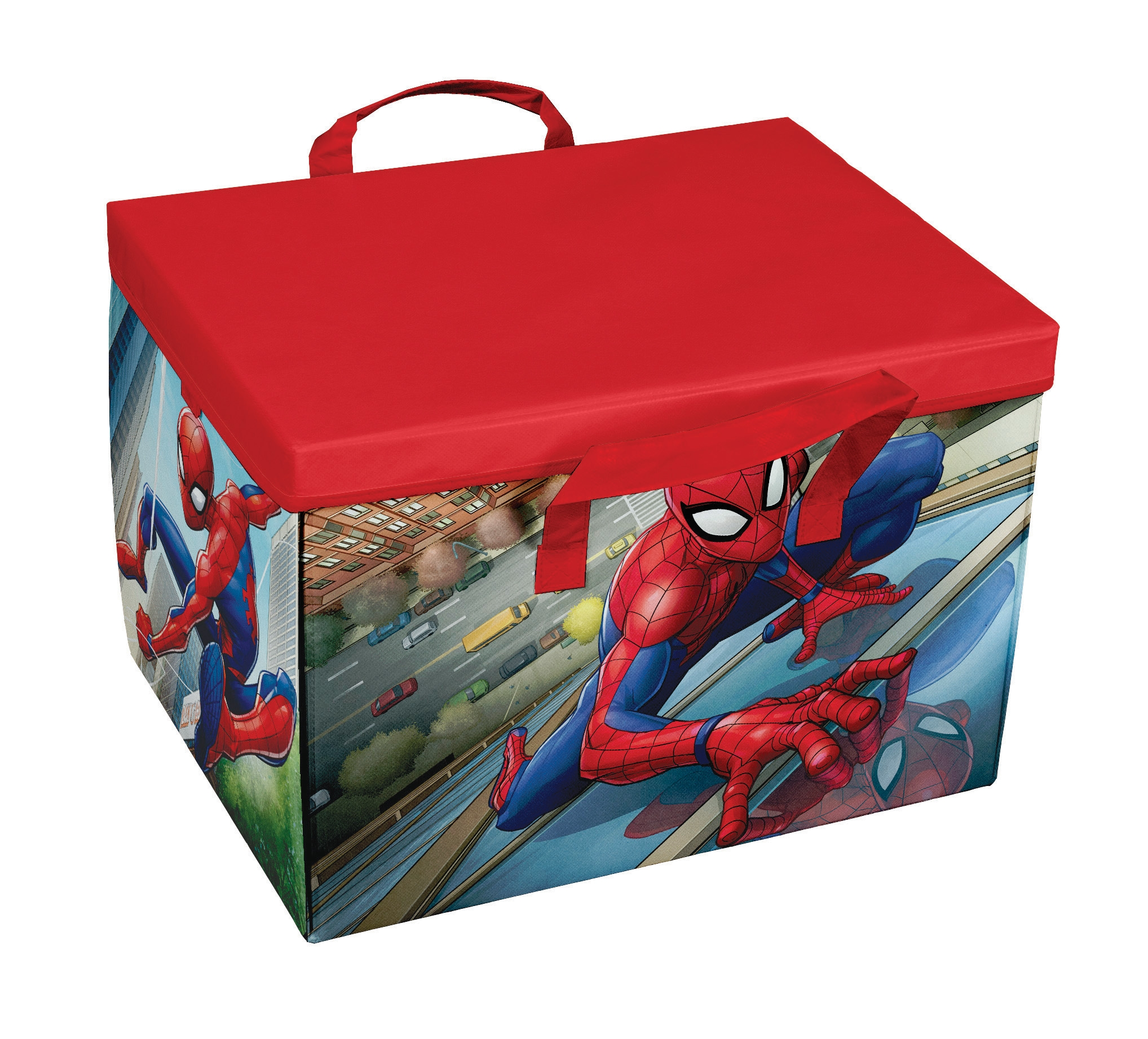 Cutie pentru depozitare jucarii 2 in 1, Spiderman Play Rosu, L41xl31xH28 cm imagine