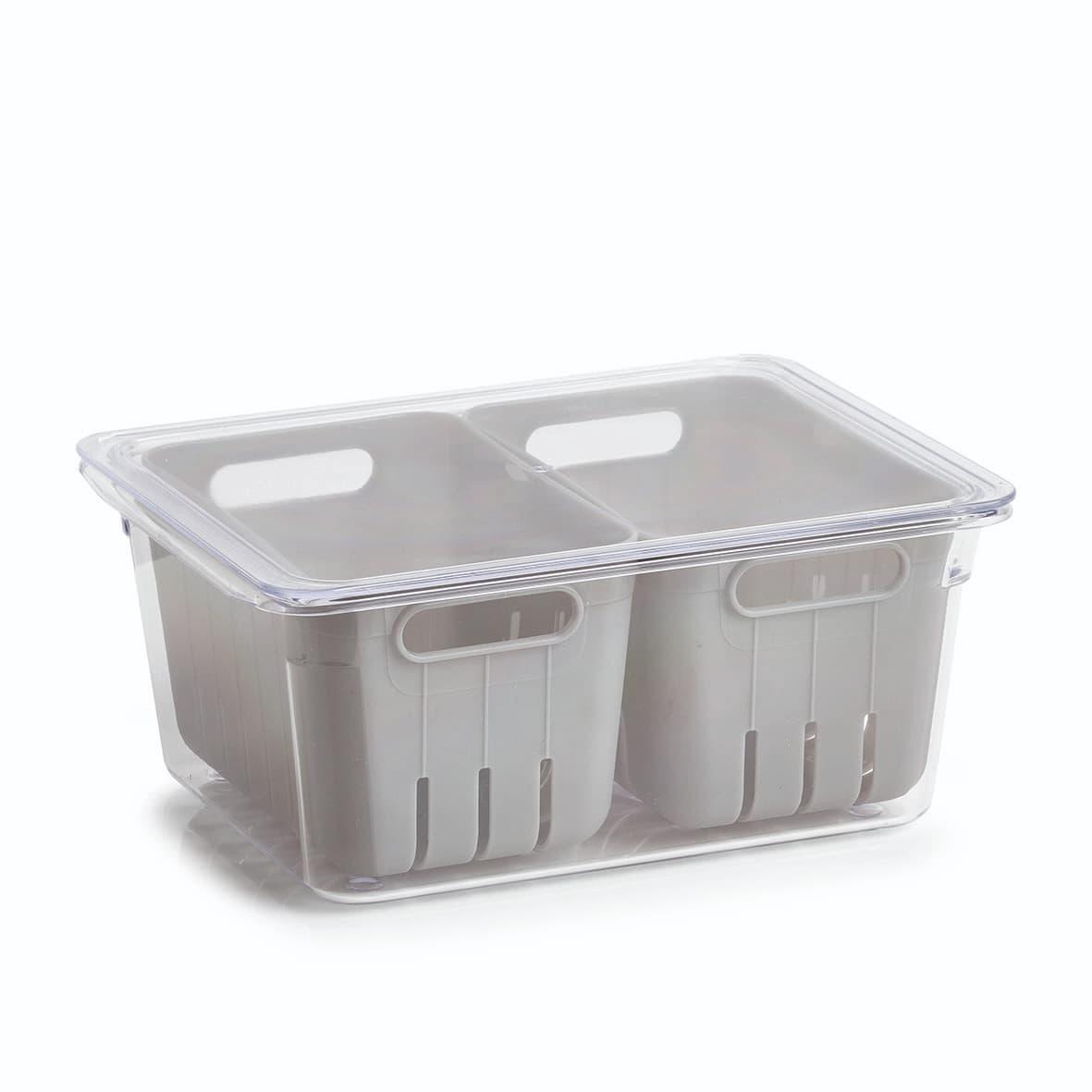 Cutie depozitare pentru frigider, din plastic, Freeze Gri, L22,5xl17,5xH10 cm poza