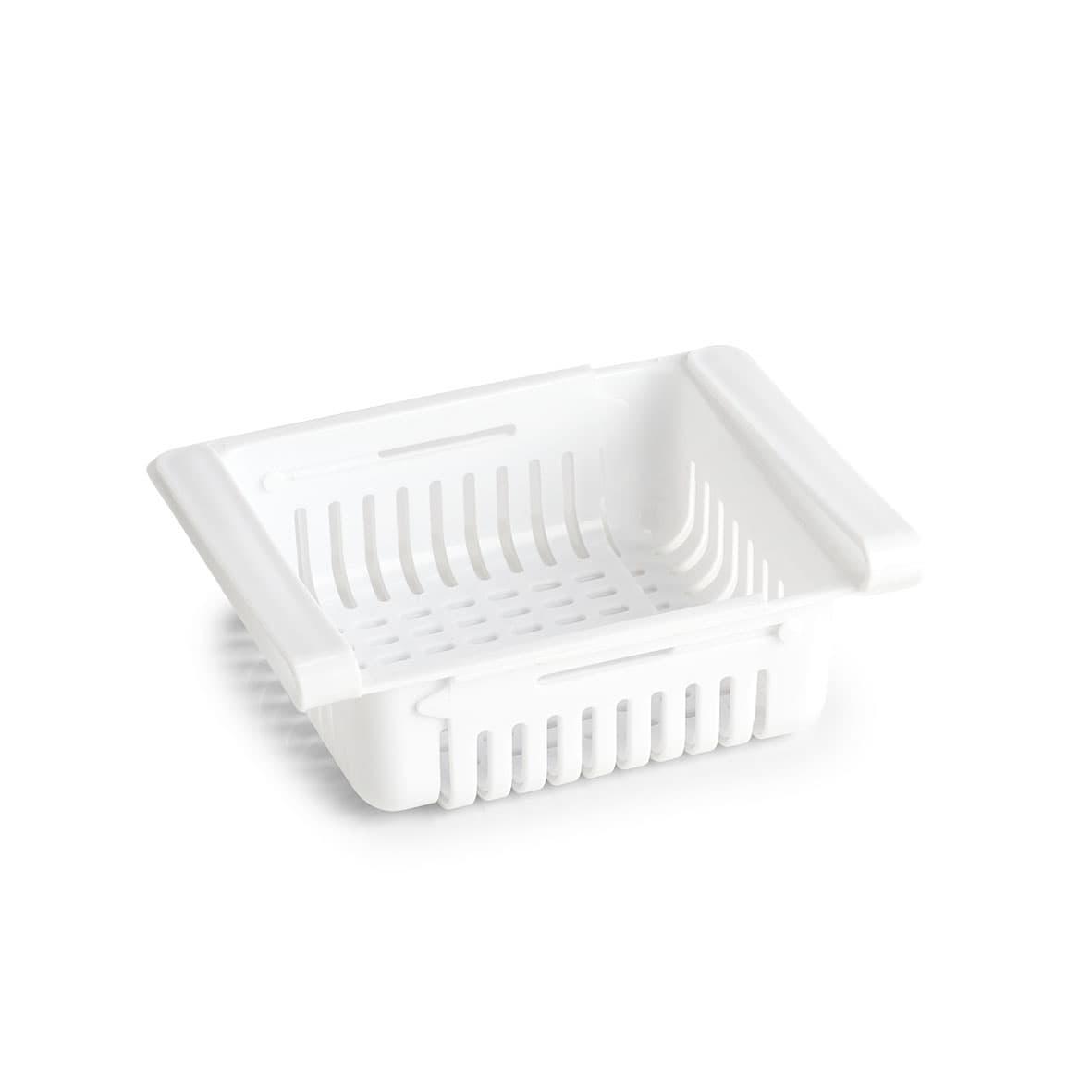 Cutie depozitare tip sertar pentru frigider, din plastic, Freeze II Alb, L20,5-28,5xl16,5xH7,5 cm imagine
