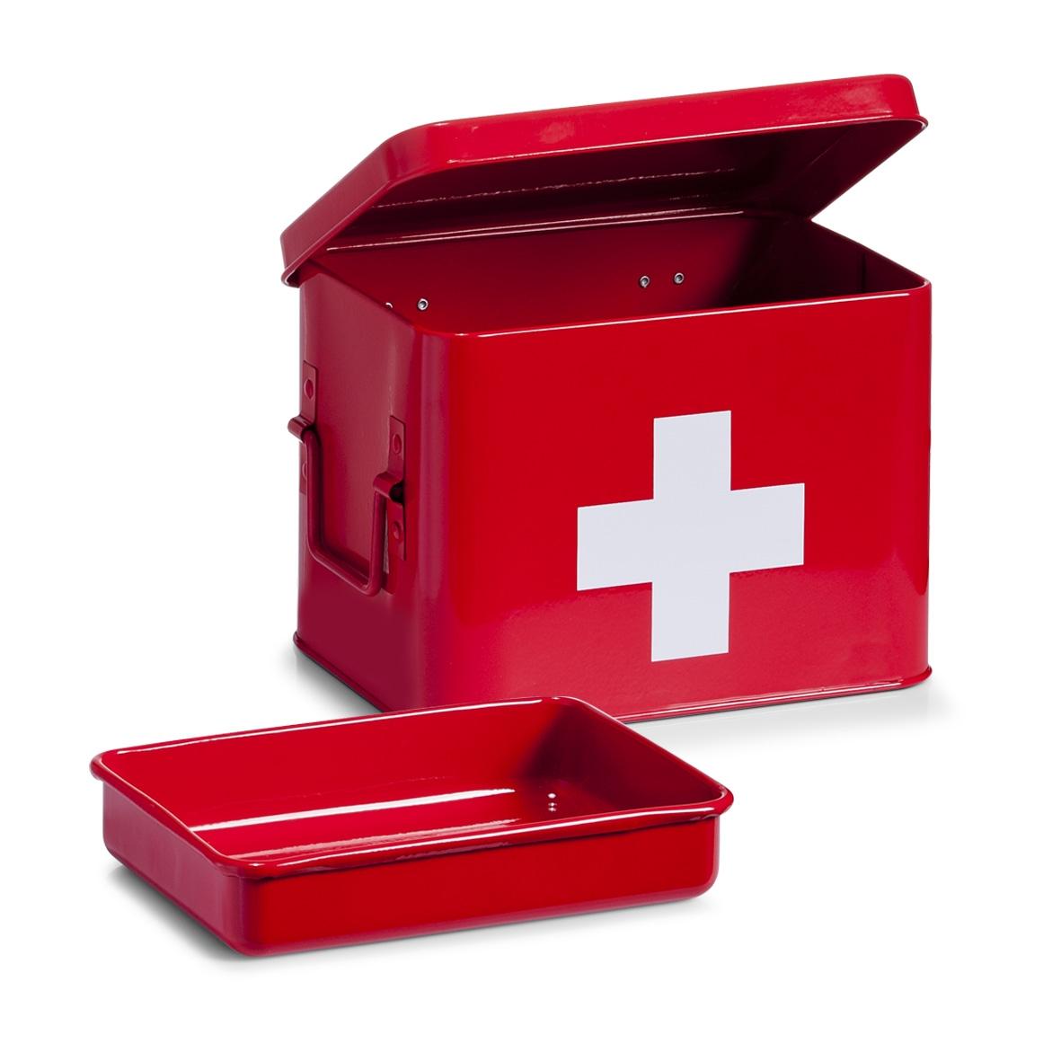 Cutie pentru depozitarea medicamentelor, 4 compartimente, Metal Red, l21,5xA16xH16 cm poza