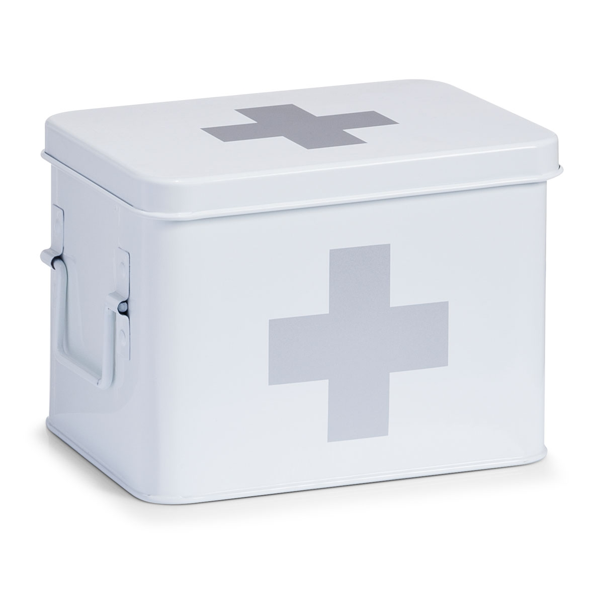 Cutie pentru depozitarea medicamentelor, 4 compartimente, Metal White, l21,5xA16xH16 cm imagine