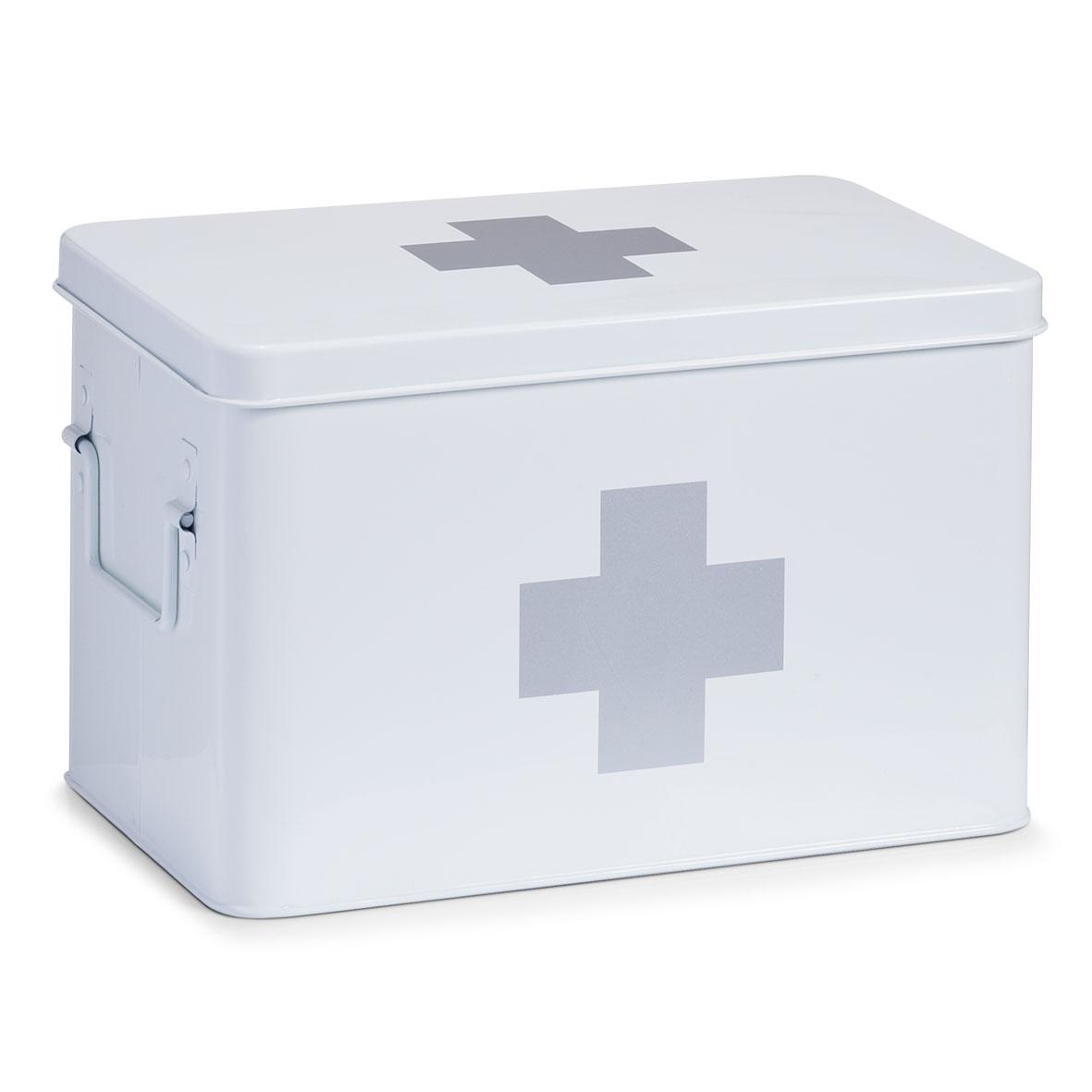 Cutie pentru depozitarea medicamentelor, 5 compartimente, Metal White, l32xA19,5xH20 cm imagine