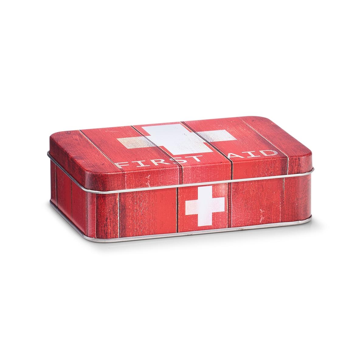 Cutie pentru depozitarea medicamentelor, First Aid, Metal Red, l14xA10,1xH4,2 cm imagine