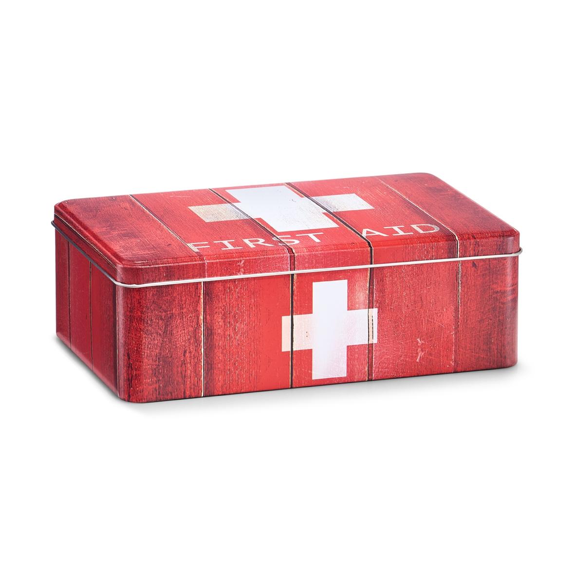 Cutie pentru depozitarea medicamentelor, First Aid, Metal Red, l20xA13xH6,8 cm imagine