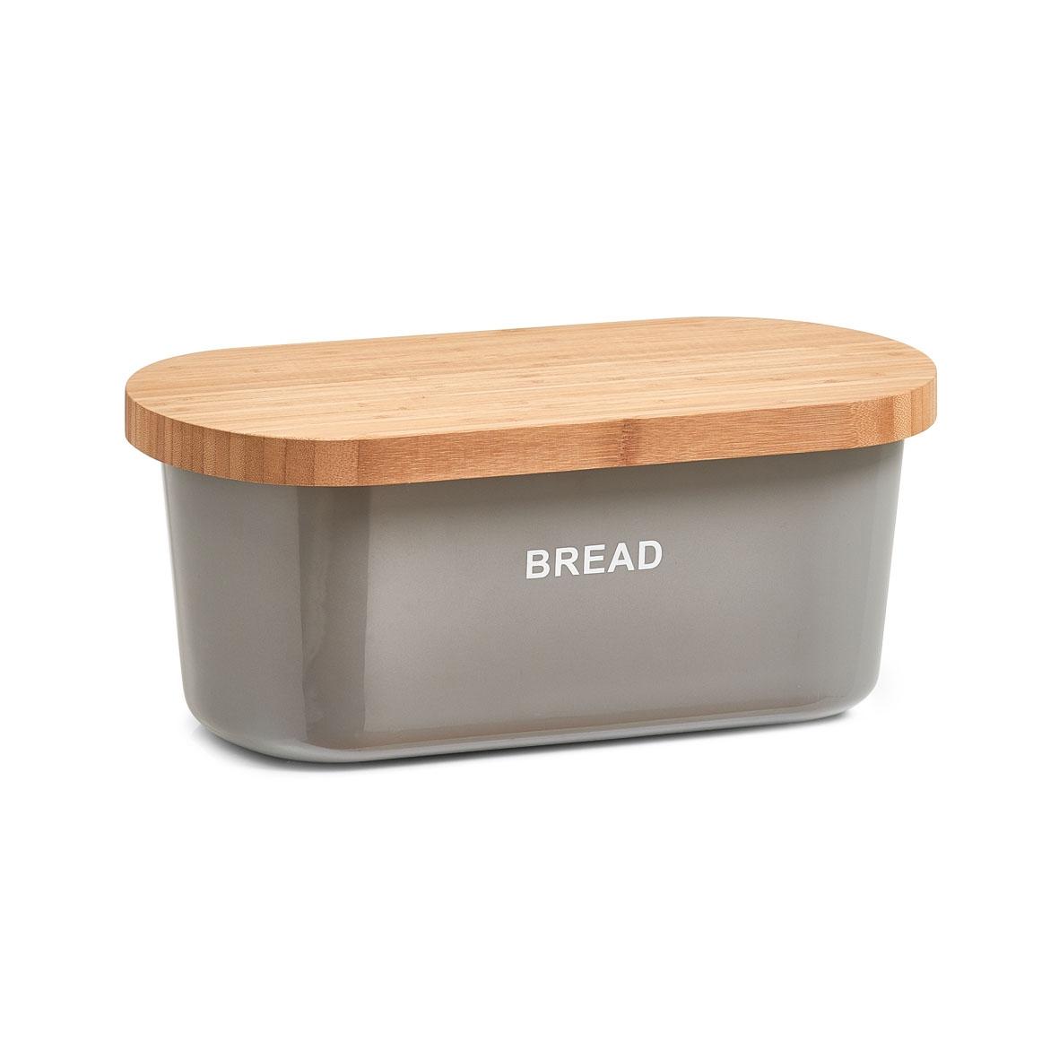 Cutie pentru paine Bread, din melamina si bambus, l36xA20xH14,5 cm-Gri imagine