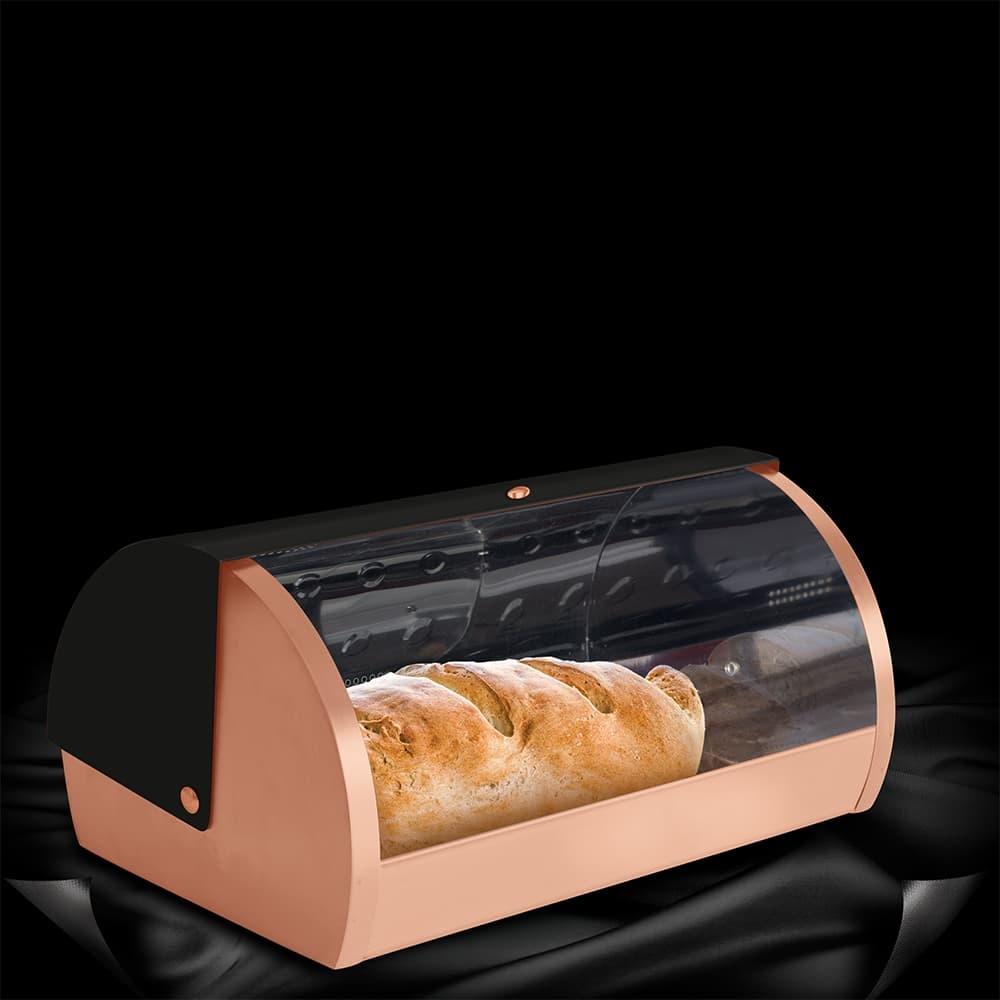 Cutie pentru paine, din otel inoxidabil, l38,5xA28xH18,5 cm, Black Rose imagine