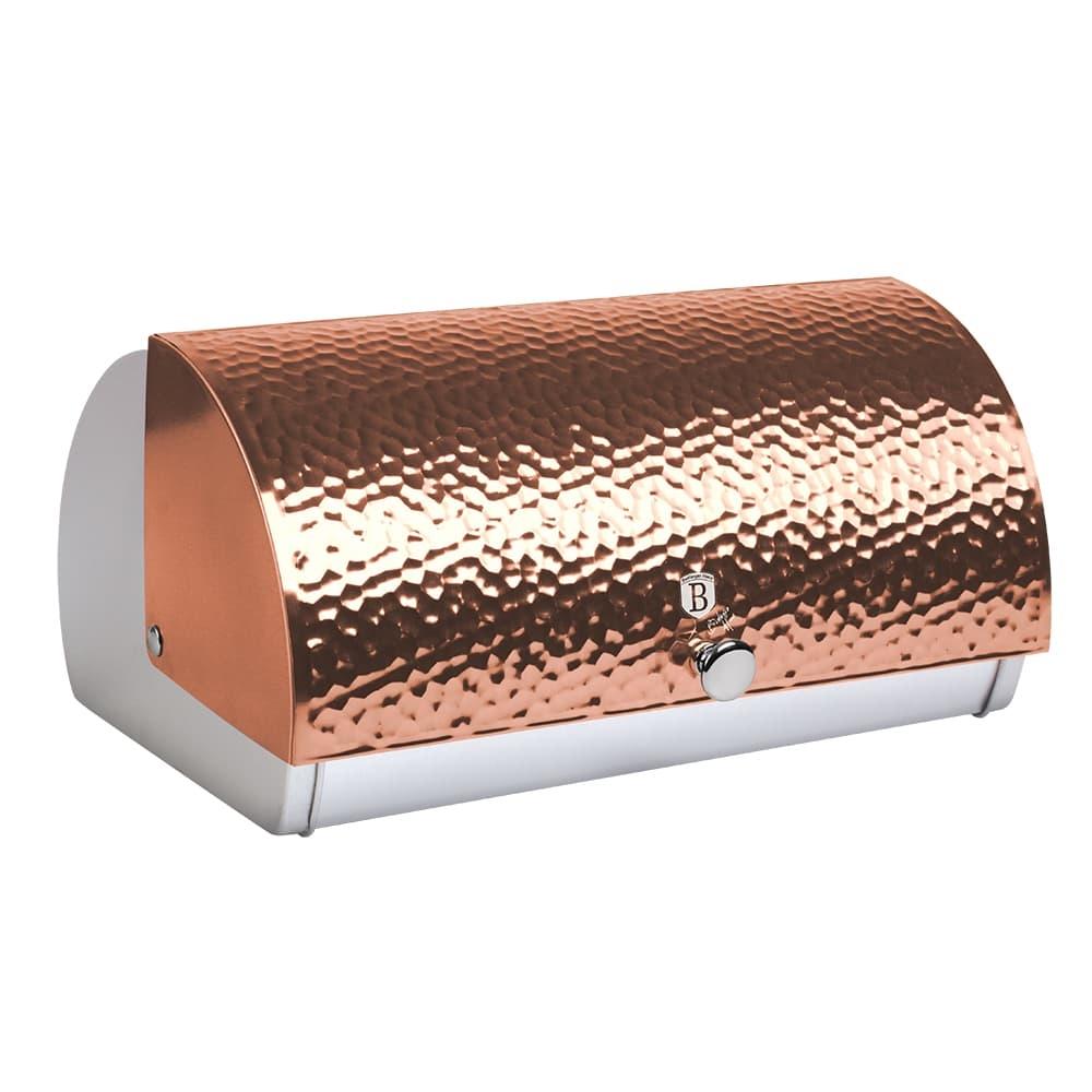 Cutie pentru paine, din otel inoxidabil, l38,5xA28xH18,5 cm, Relief Metallic Line Rose Gold imagine