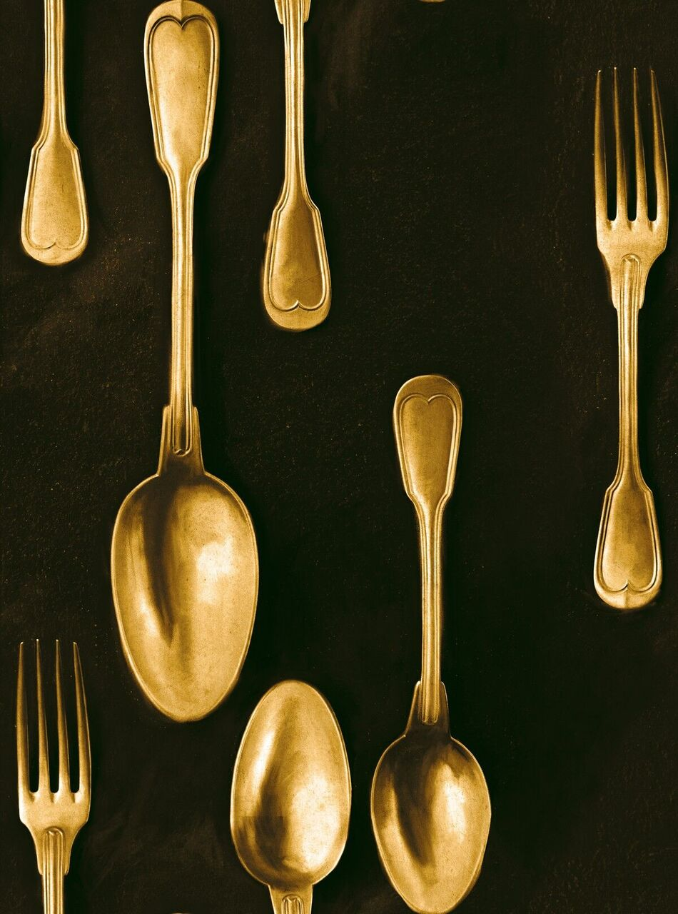 Set 3 role Tapet Imprimat Digital Cutlery Brass