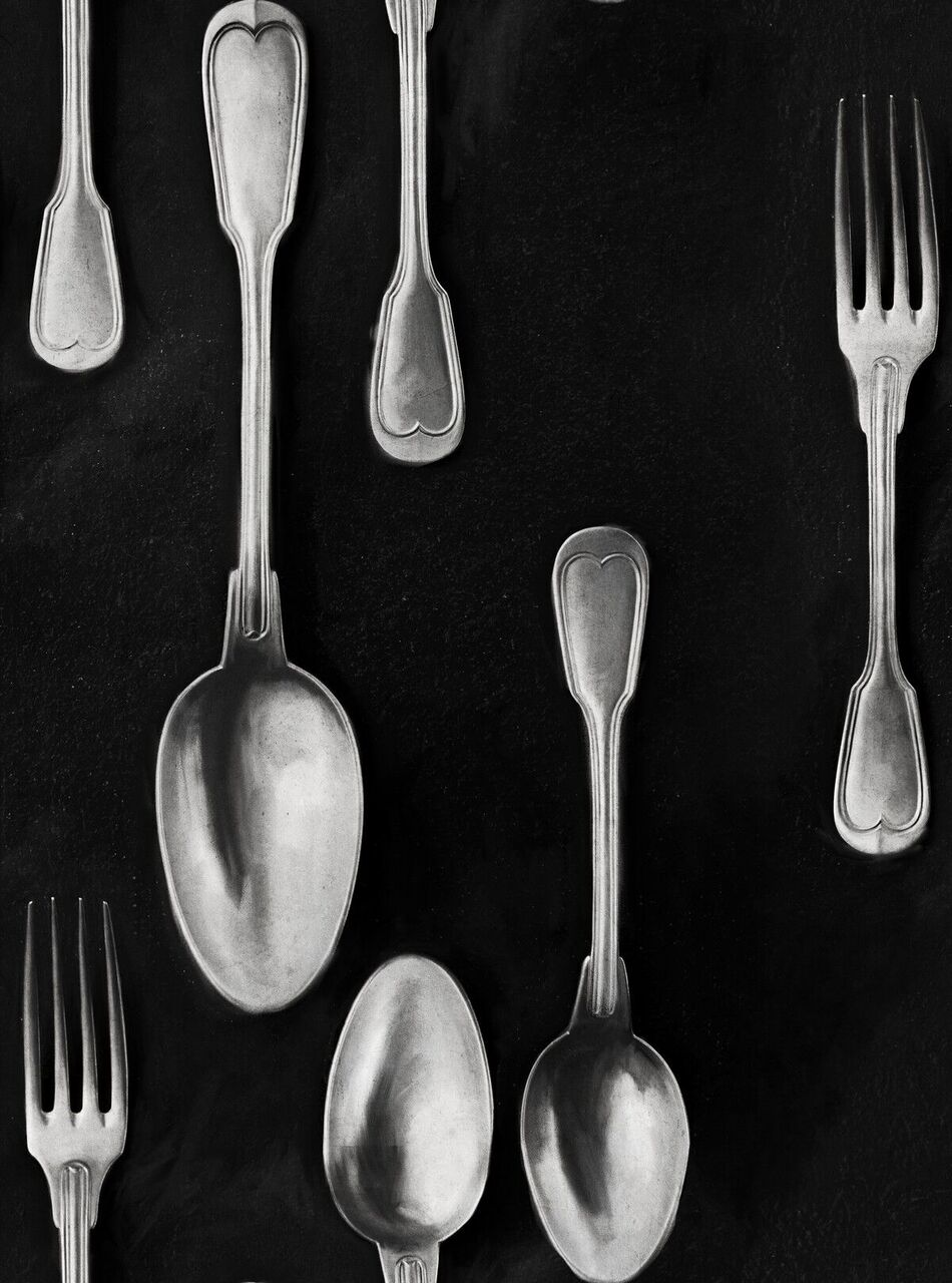 Set 3 role Tapet Imprimat Digital Cutlery Silver
