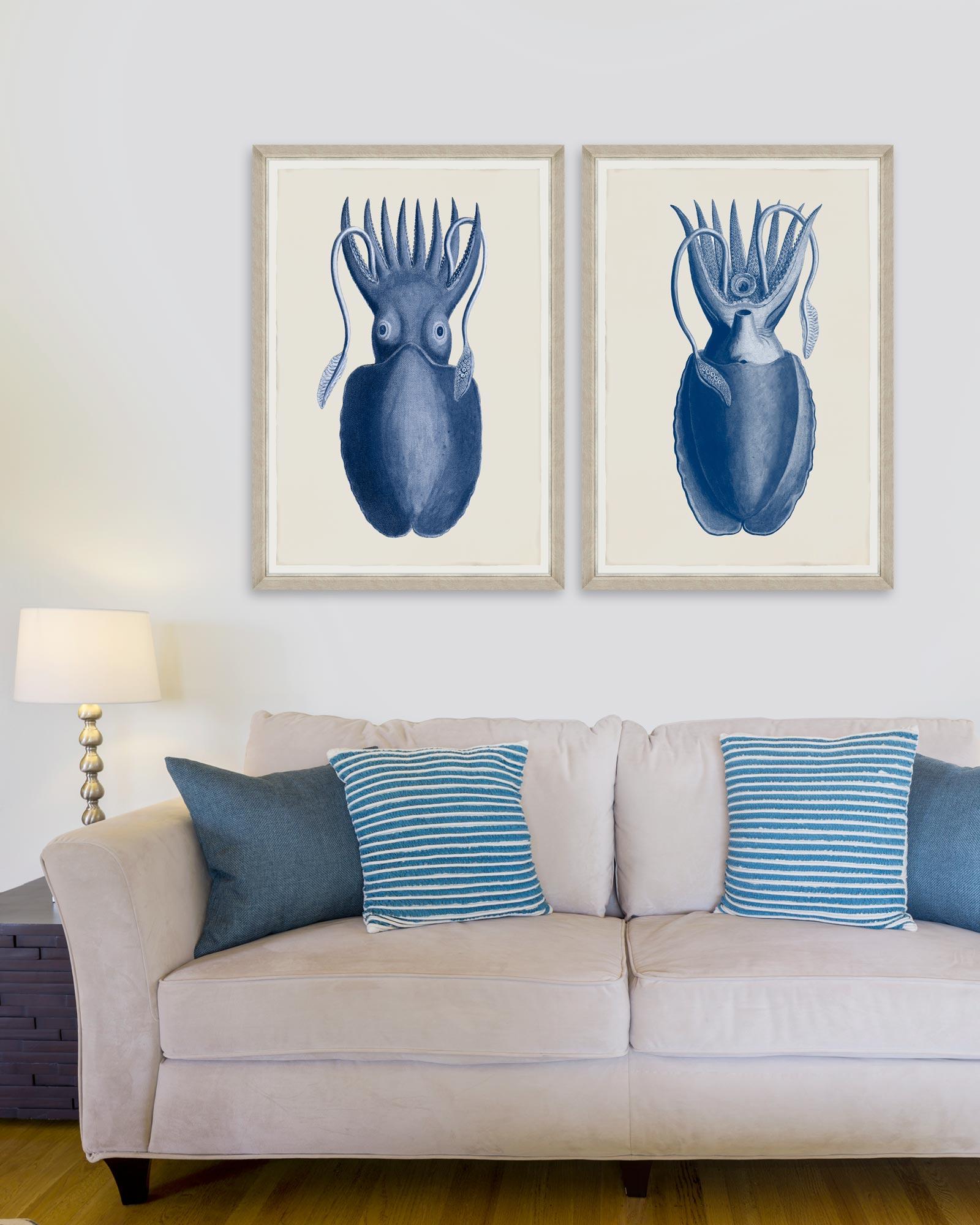 Tablou 2 piese Framed Art Cuttlefish On Blue